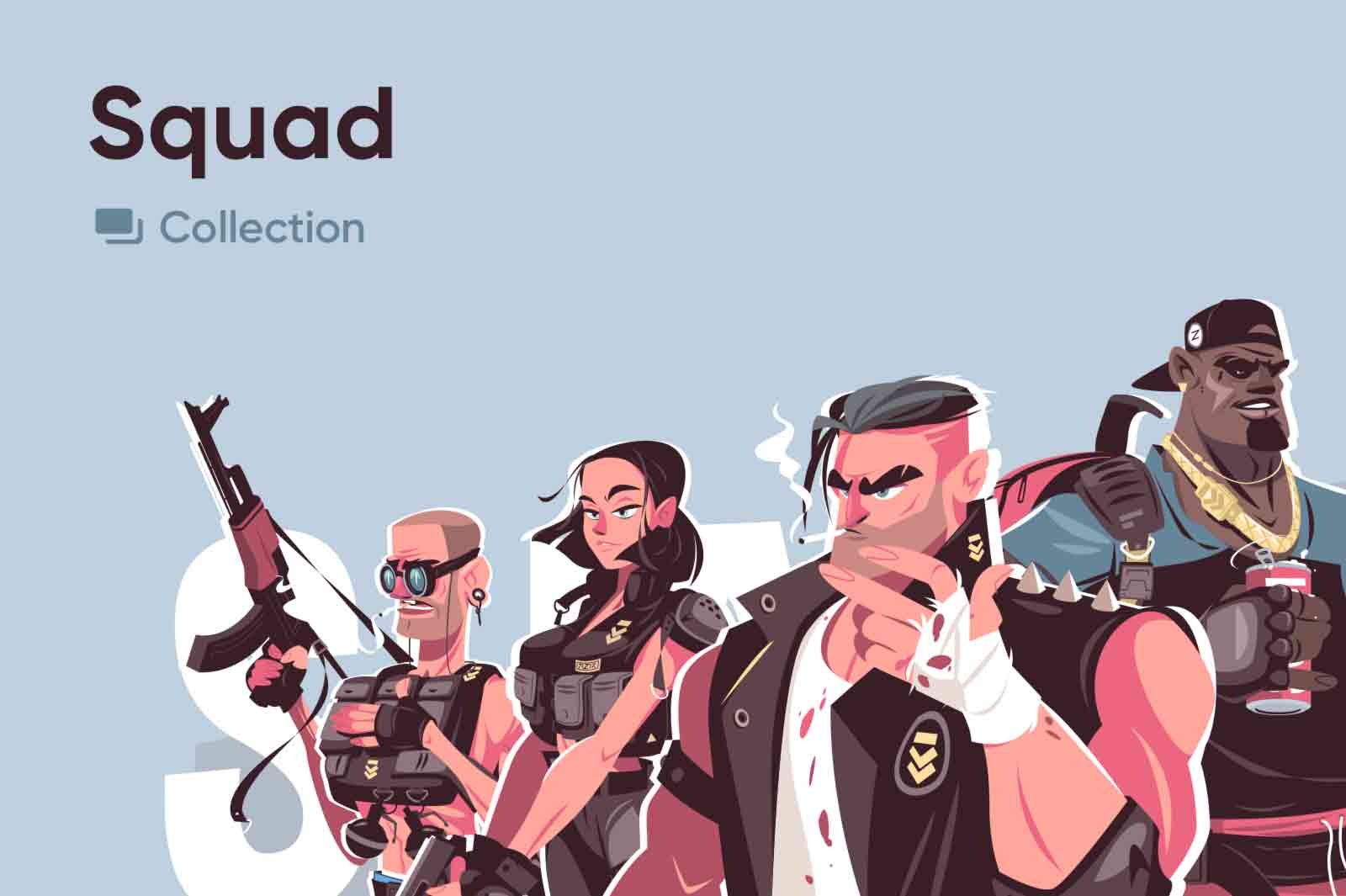 Characters of hardened mercenaries and thugs that have seen a lot worse. Vector illustrations collection exclusively available on kit8.net