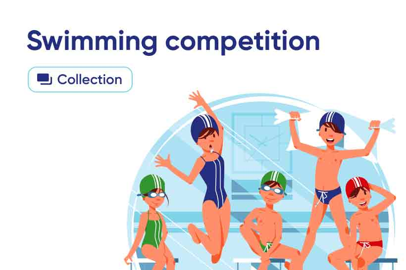 Swimming competition illustrations collection