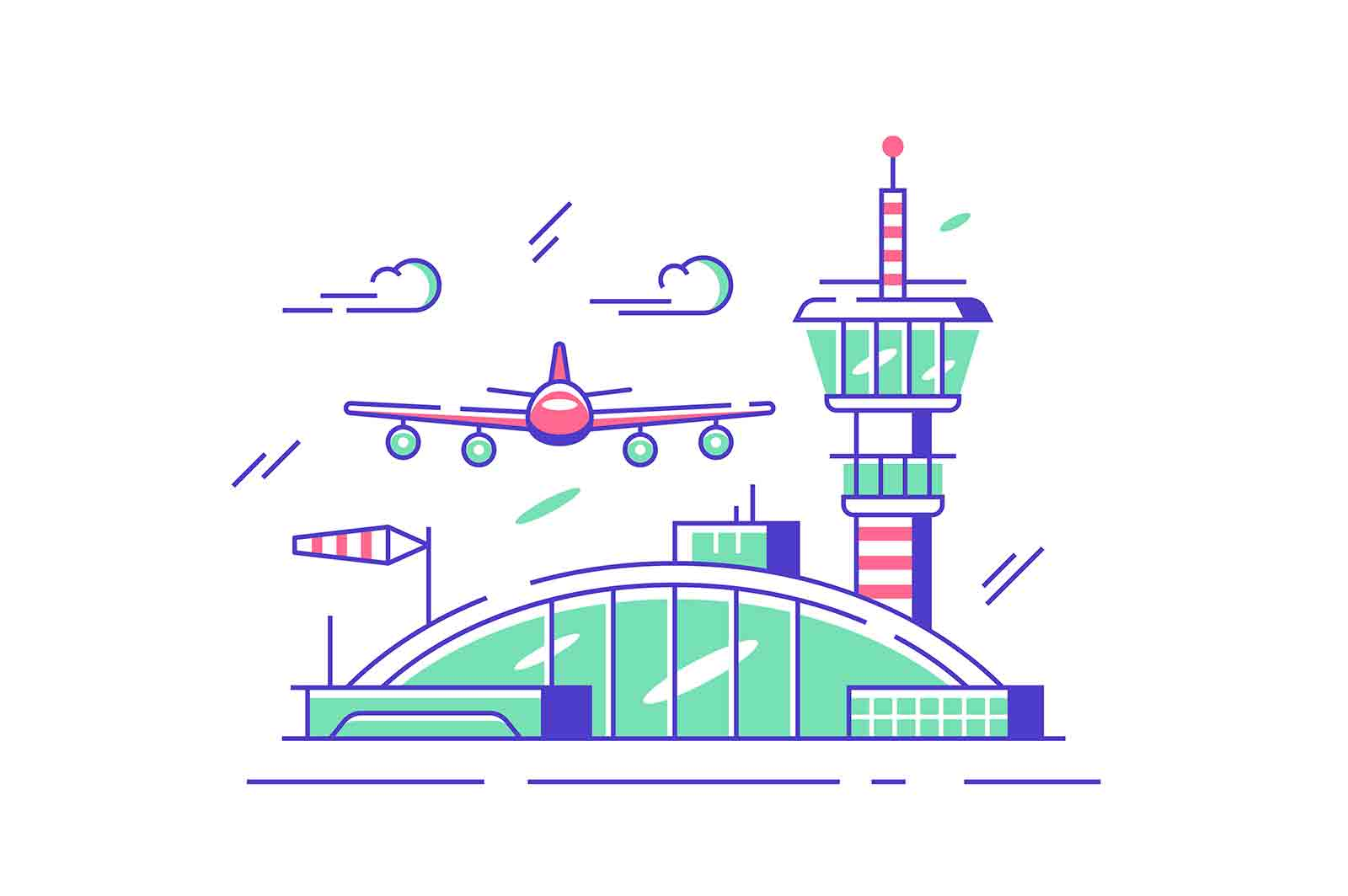 Modern airport station with airplane vector illustration. Plane flying in air flat style. Arrival and departure of air transportation. Travel and tourism concept. Isolated on white background
