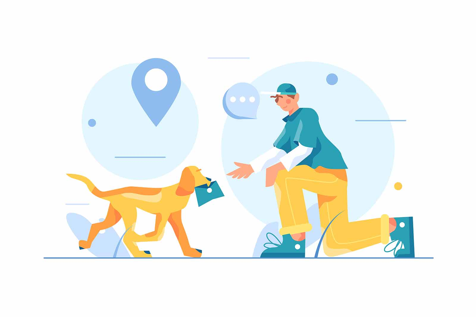 The dog brings the guy a letter in his mouth, the guy sits on his knee and stretches out his hand, big blue pin isolated on white background, flat vector illustration