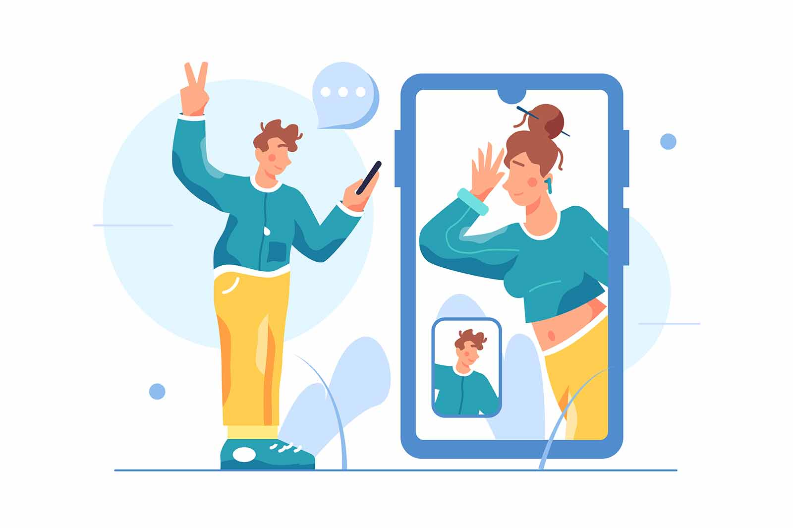 Man talking on video communication with a woman through a big mobile phone, man holding a phone in his hand, isolated on white background, flat vector illustration
