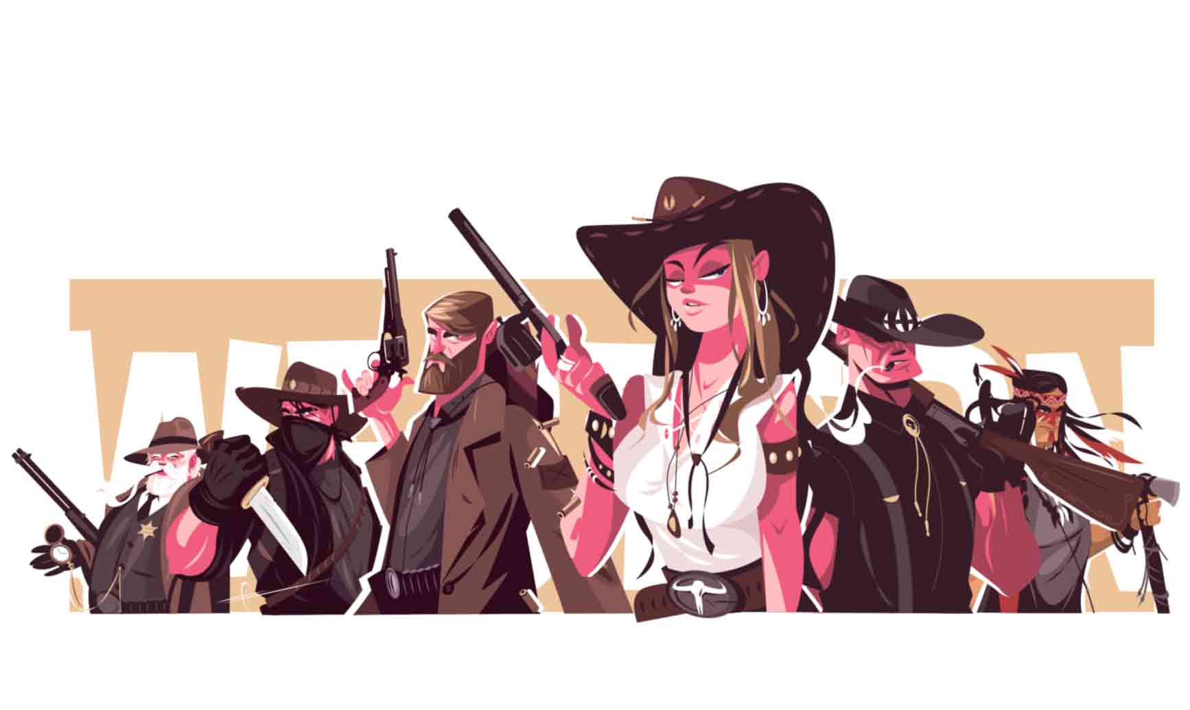 Series of characters illustrations directly from wild wild west. You better do mess around this guys, rules are different here. this gorgeous collection available exclusively on kit8.net