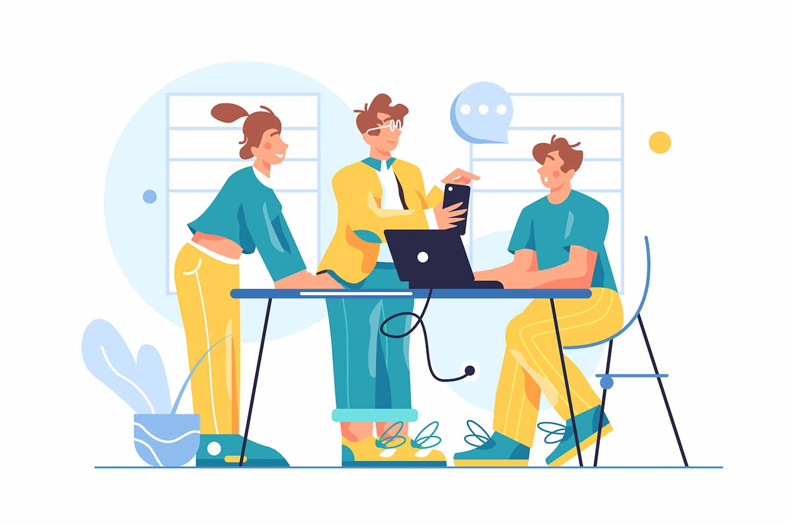 Group of colleagues working as a team in the office, the guy at the table at the laptop, the guy in the phone isolated on white background, flat vector illustration