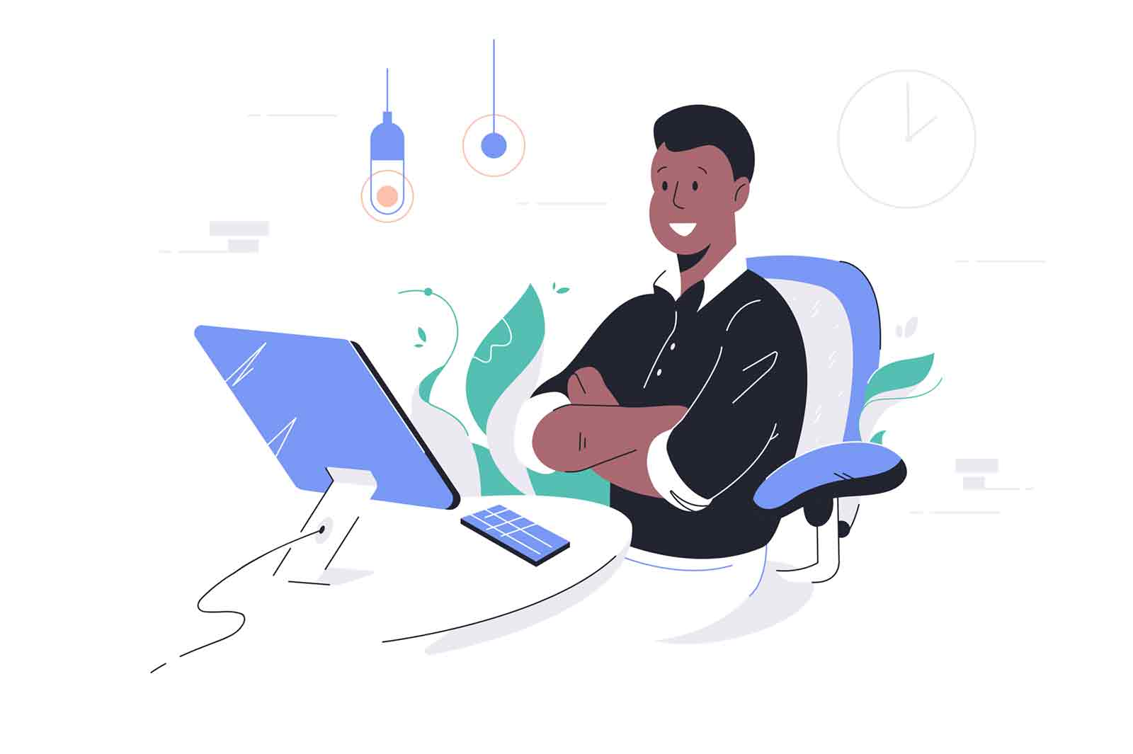 Happy african american businessman crossing hands using computer and smartphone. Concept black man character employee with modern digital technology in office. Vector illustration.