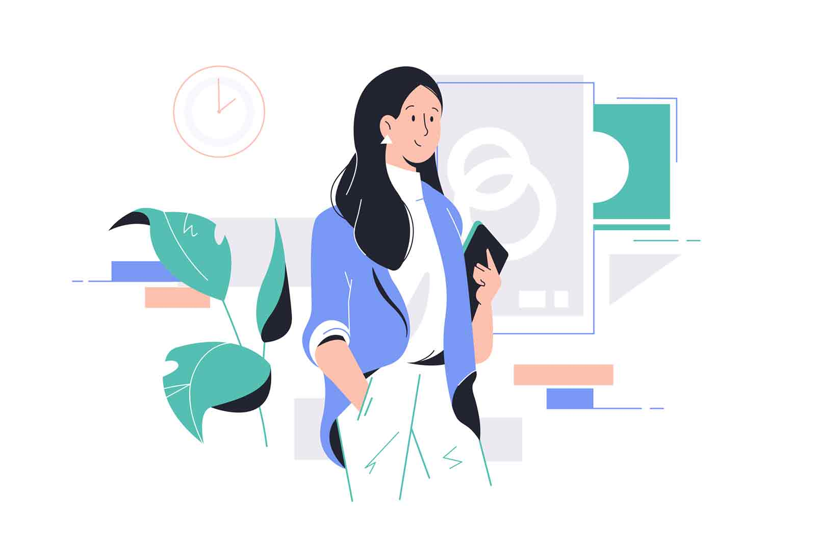 Young happy attractive businesswoman holding tablet at work in office. Concept smiling woman character have break going to boardroom for meeting. Vector illustration.