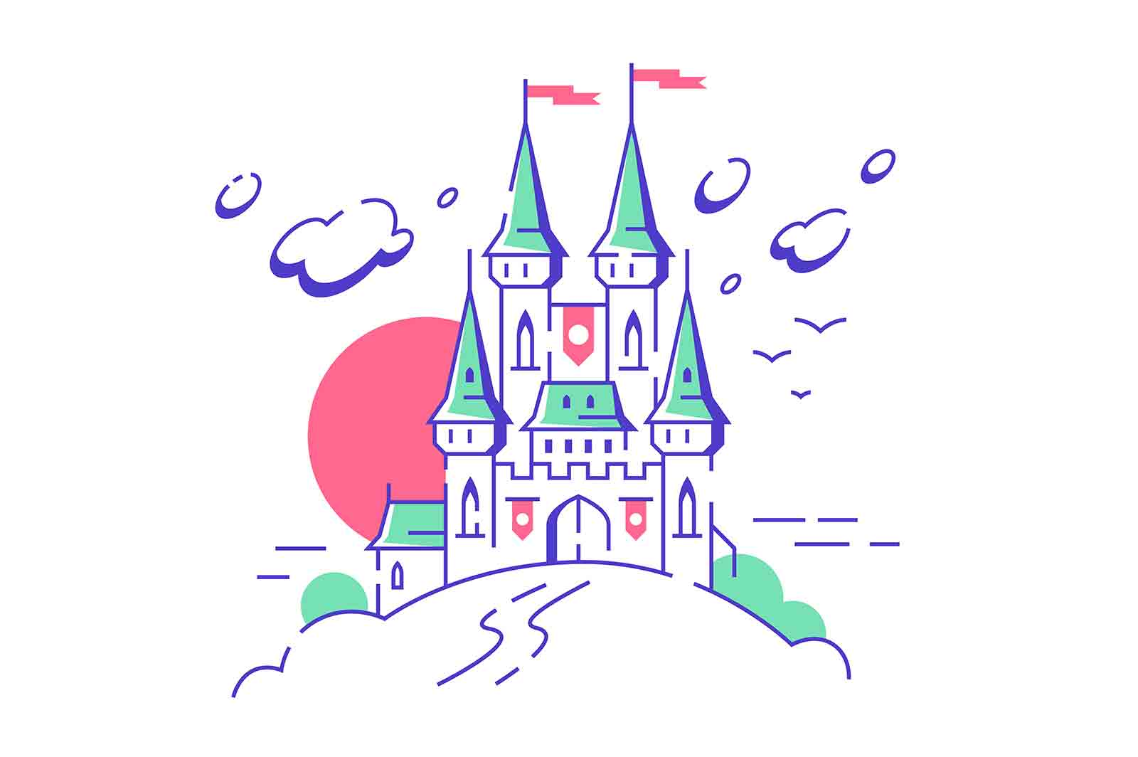 Big fairytale medieval castle towers on white background. Isolated concept of fairy king mansion fortress building with red flags and emblem from children stories. Vector illustration.
