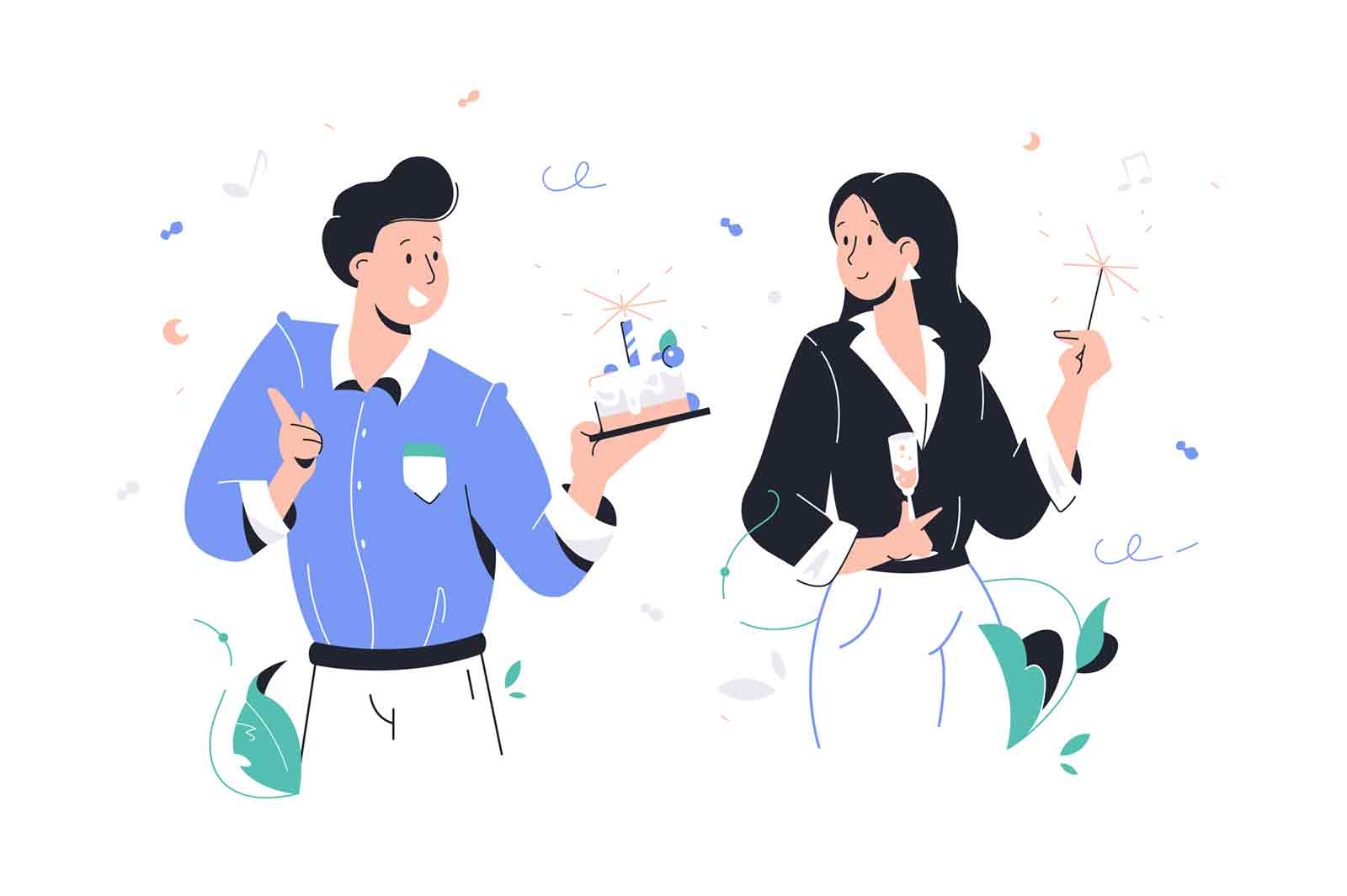 Smiling handsome man congratulates happy woman at celebration. Concept businessman and businesswoman character eats cake with candle and sparkler. Vector illustration.