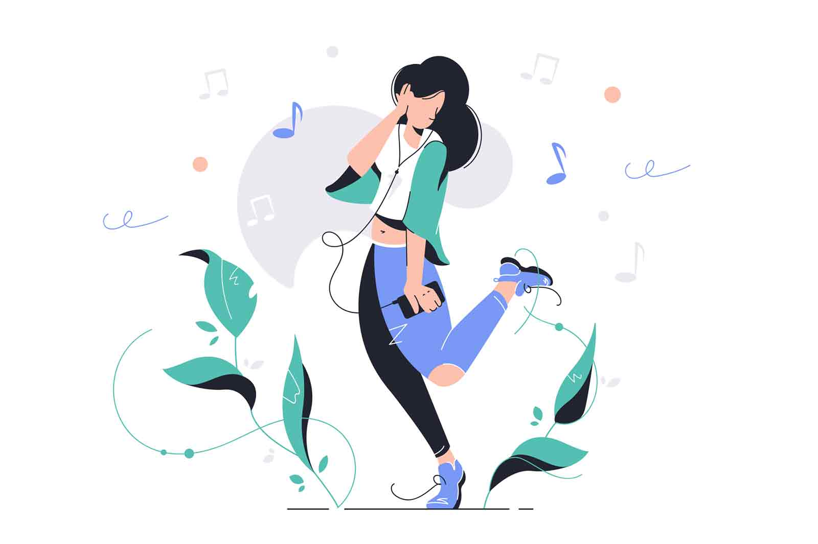 Girl dancing on street outdoors vector illustration. Woman listening to music and wearing headset flat style. Outside activity and player. Fun and entertainment concept. Isolated on white