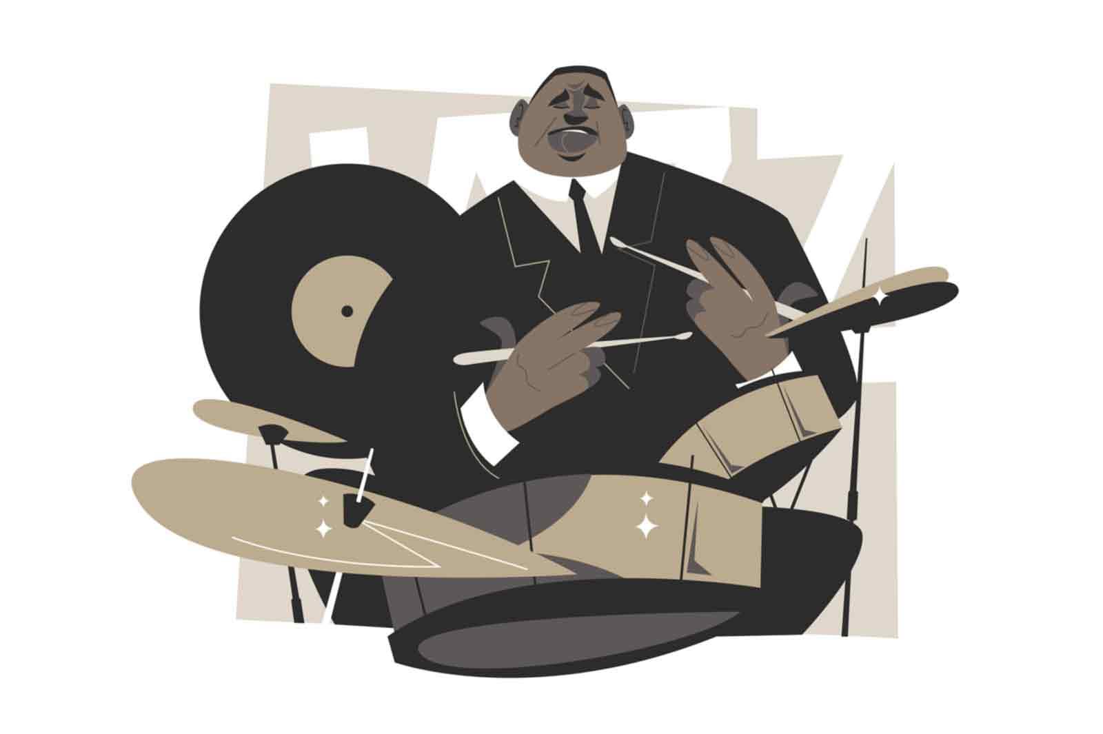 Jazz drummer character