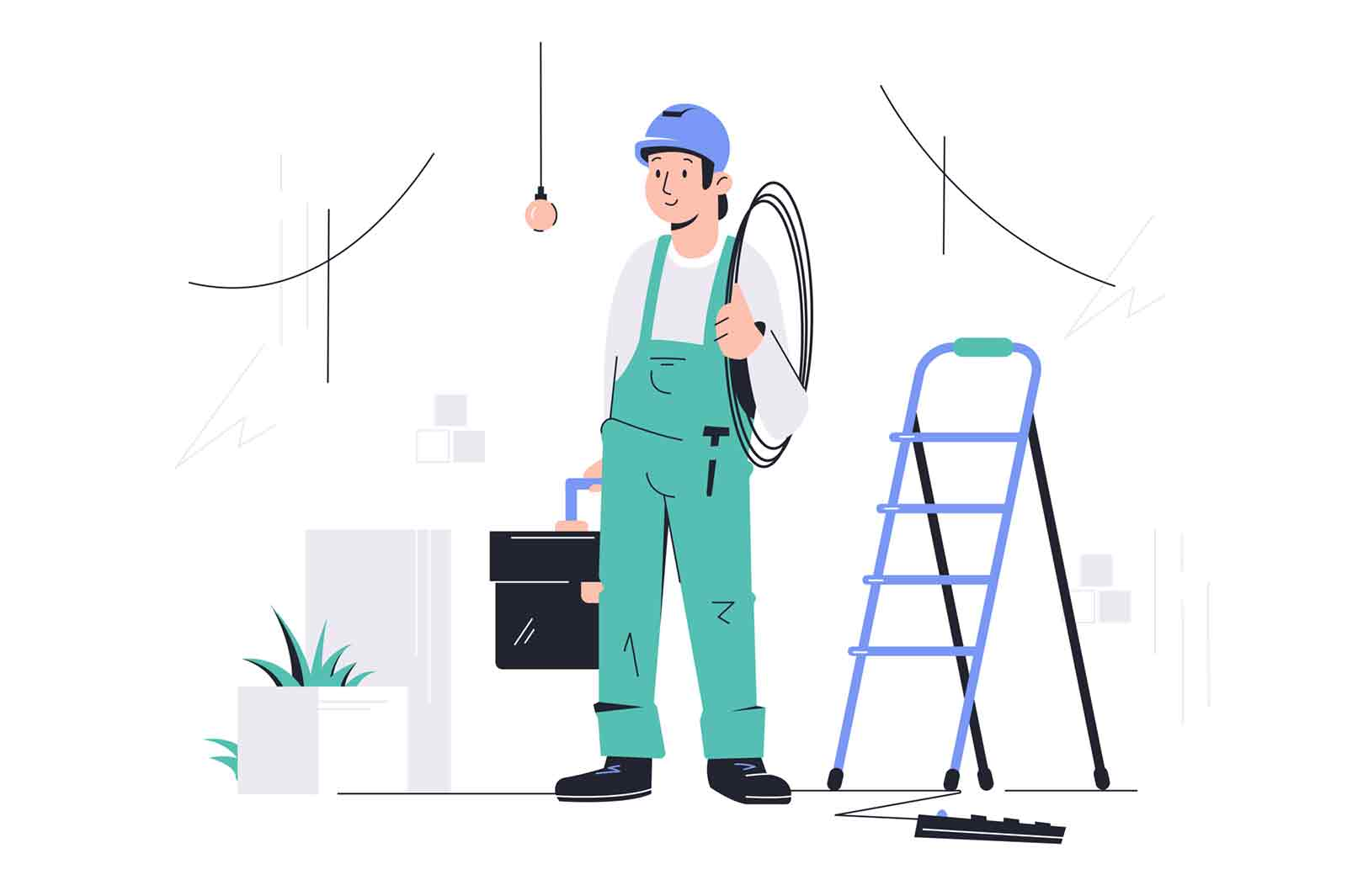 Young happy male employee with equipment looking at completed work. Concept smiling man character holding toolbox and cable near ladder for repairs. Vector illustration.