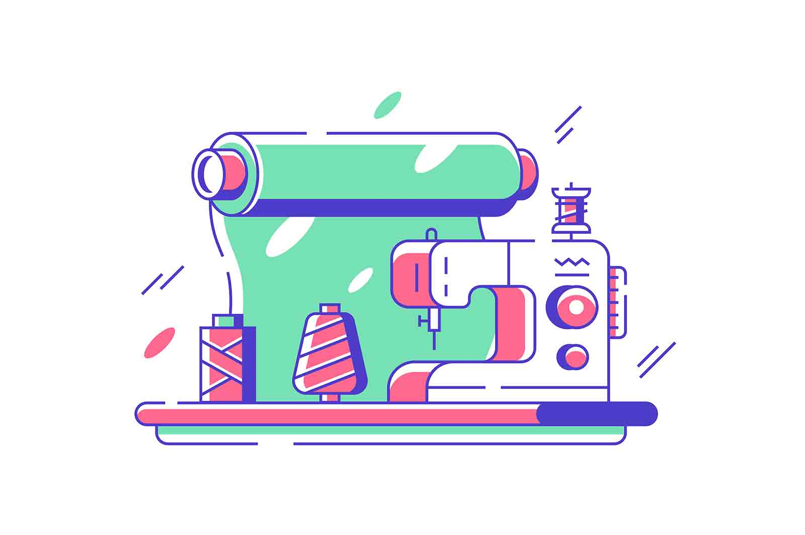 Sewing machine for fabrics vector illustration. Electric equipment for creating clothes flat style. Fashion industry and handmade concept. Isolated on white background