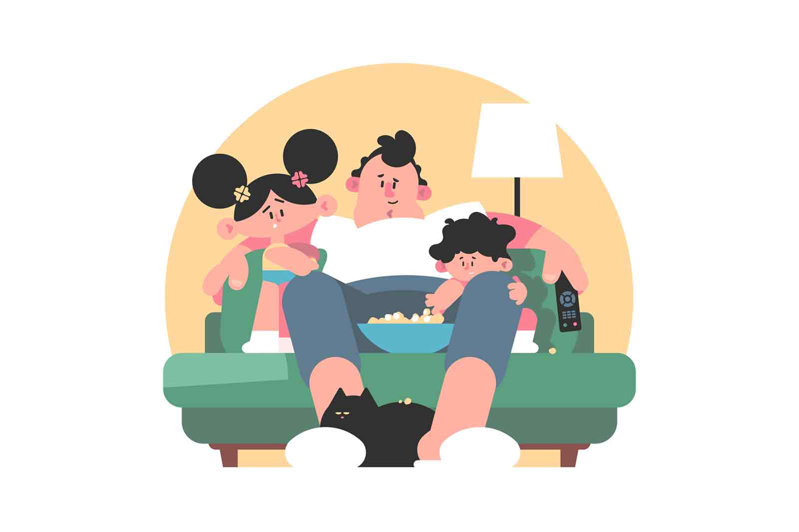 Family watching tv together vector illustration. Smiling father with kids resting on sofa flat style. Popcorn and cozy living room interior. Family time concept. Isolated on white background
