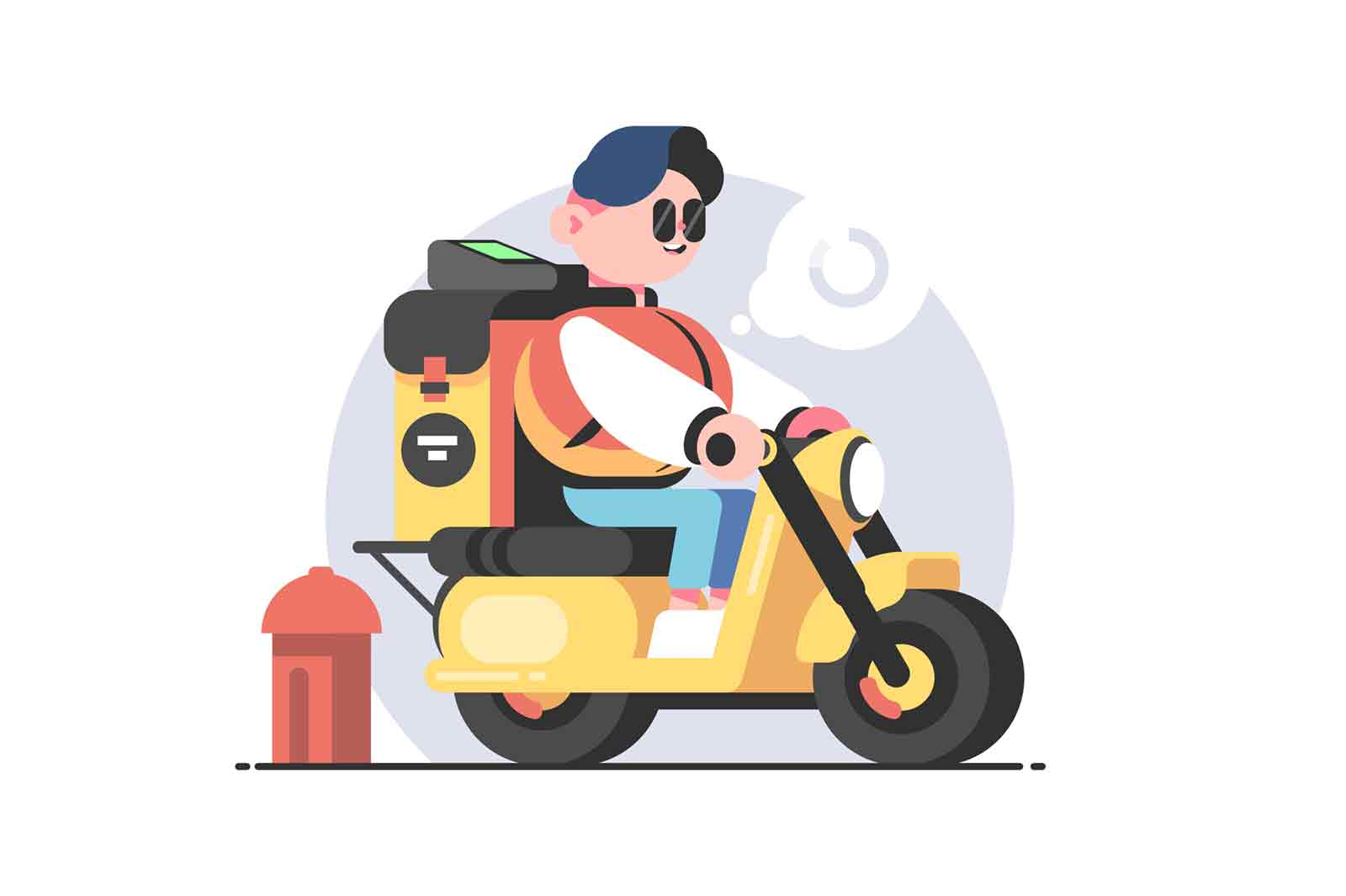 Food delivery man on scooter vector illustration. Delivery worker with backpack full of products flat style. Delivery service and food concept. Isolated on white background