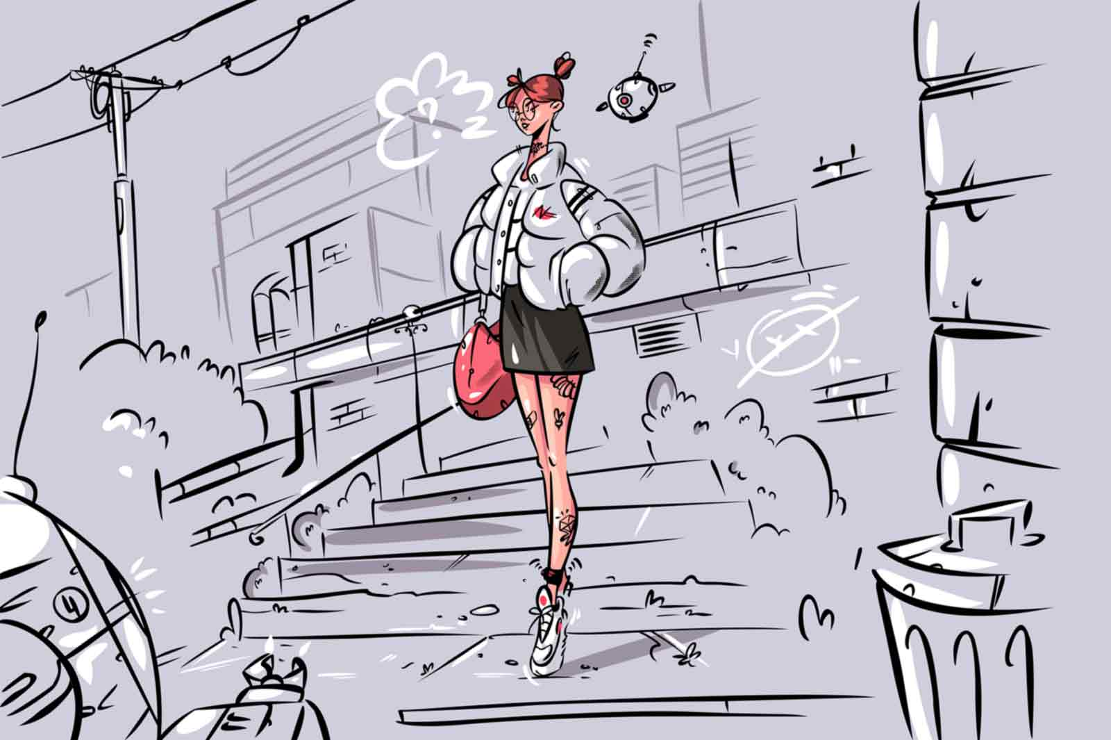 Young woman and drone patrol vector illustration. Trendy woman and flying robot in air flat style. Modern security system. Future technologies concept