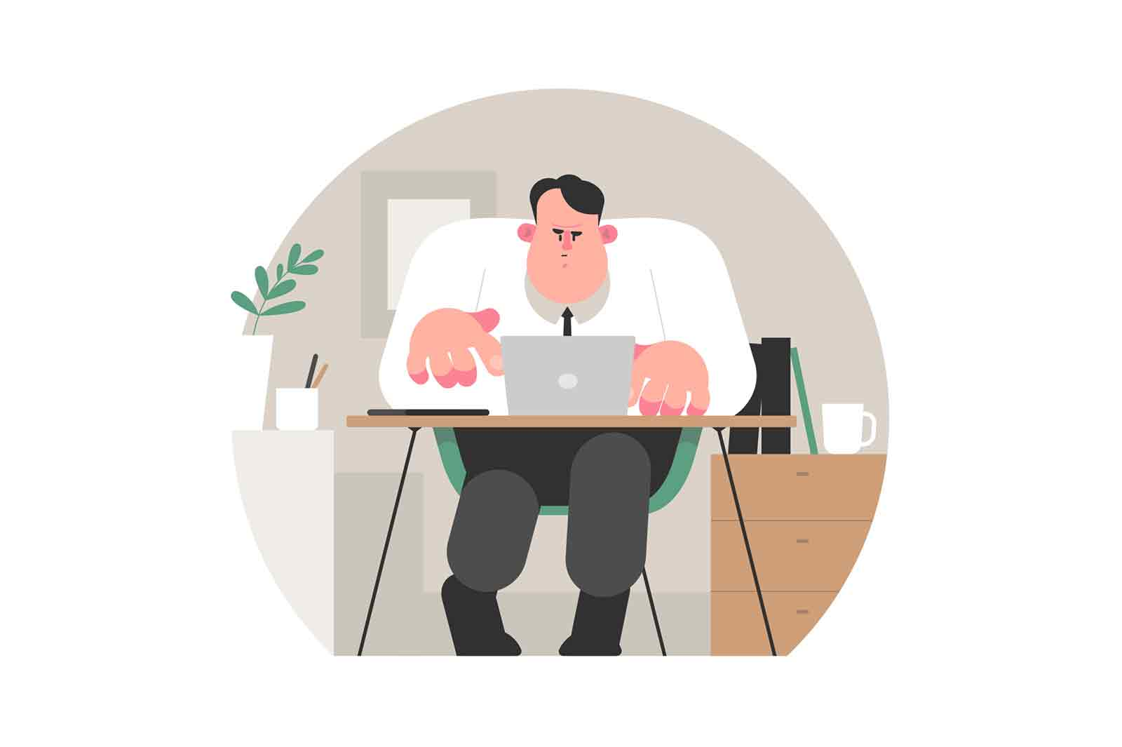 Tired man in office vector illustration. Concentrated exhausted worker typing on laptop flat style. Employee busy with work. Business and job concept. Isolated on white background