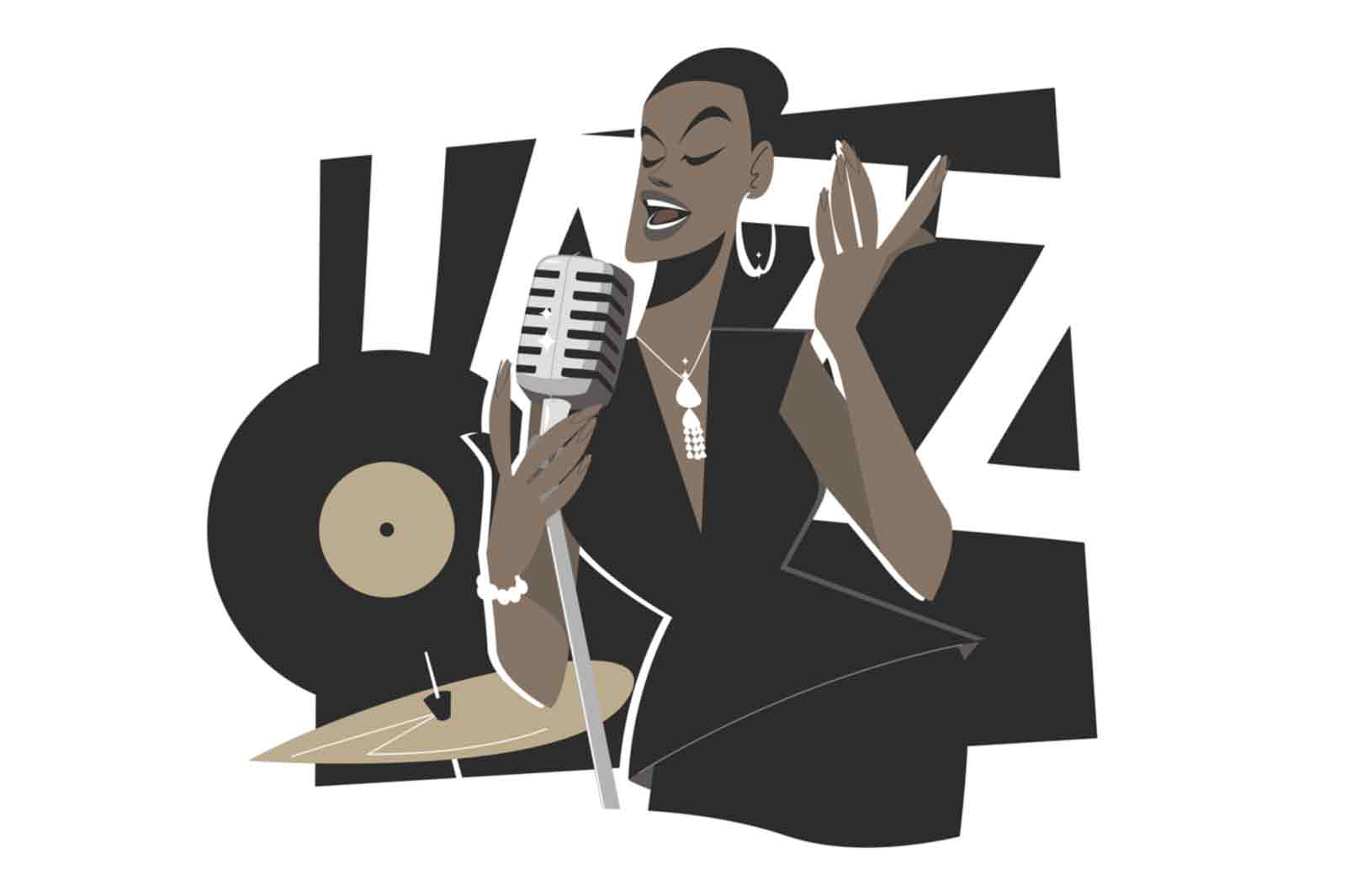 Afro american jazz singer vector illustration. Female musician singning and performing on stage flat style. Jazz, music, art and hobby concept. Isolated on white background