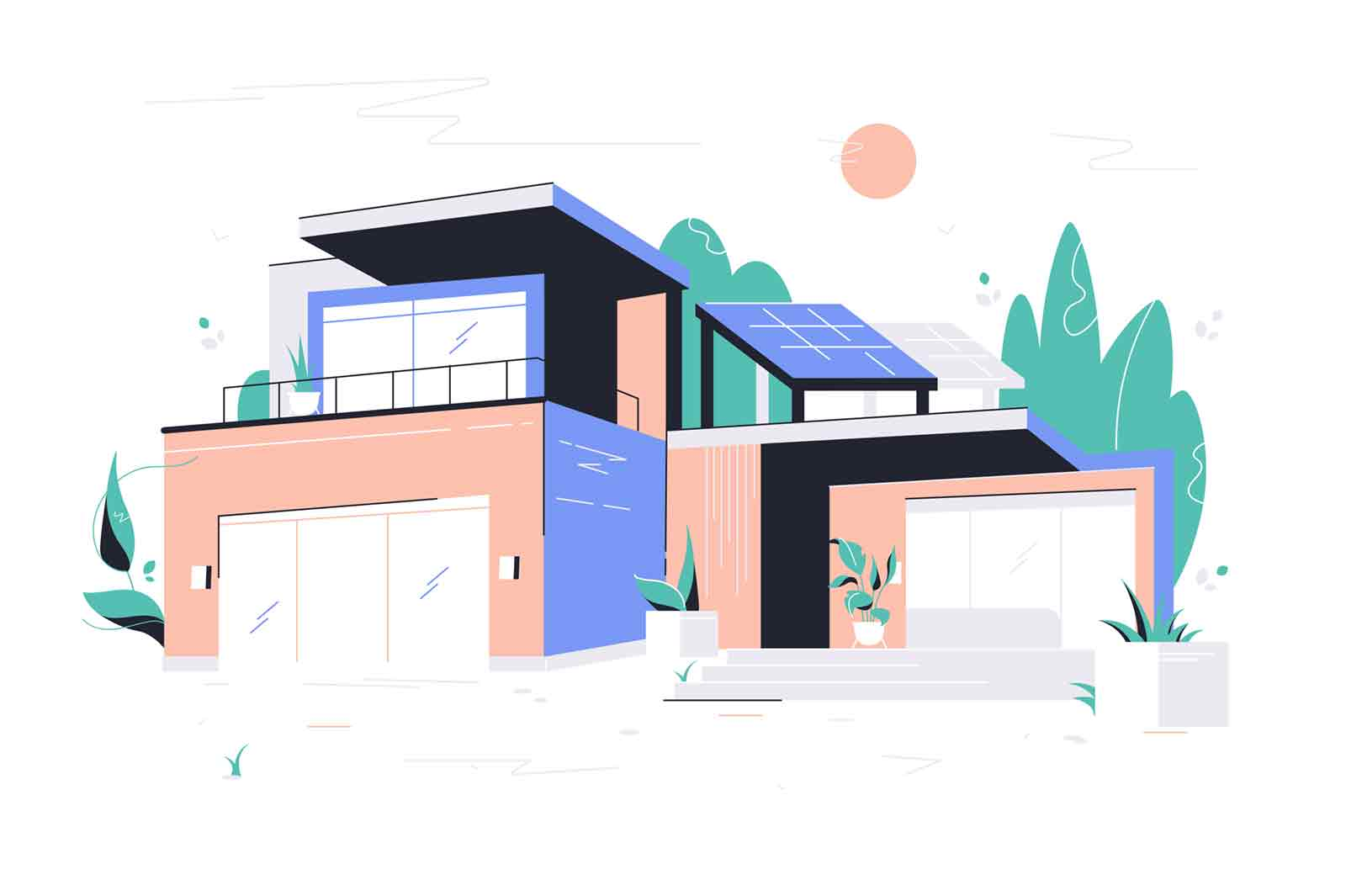 Modern big house with garage, balcony and roof solar panel. Concept two-storied building with plants around perimeter and glass doors. Vector illustration.