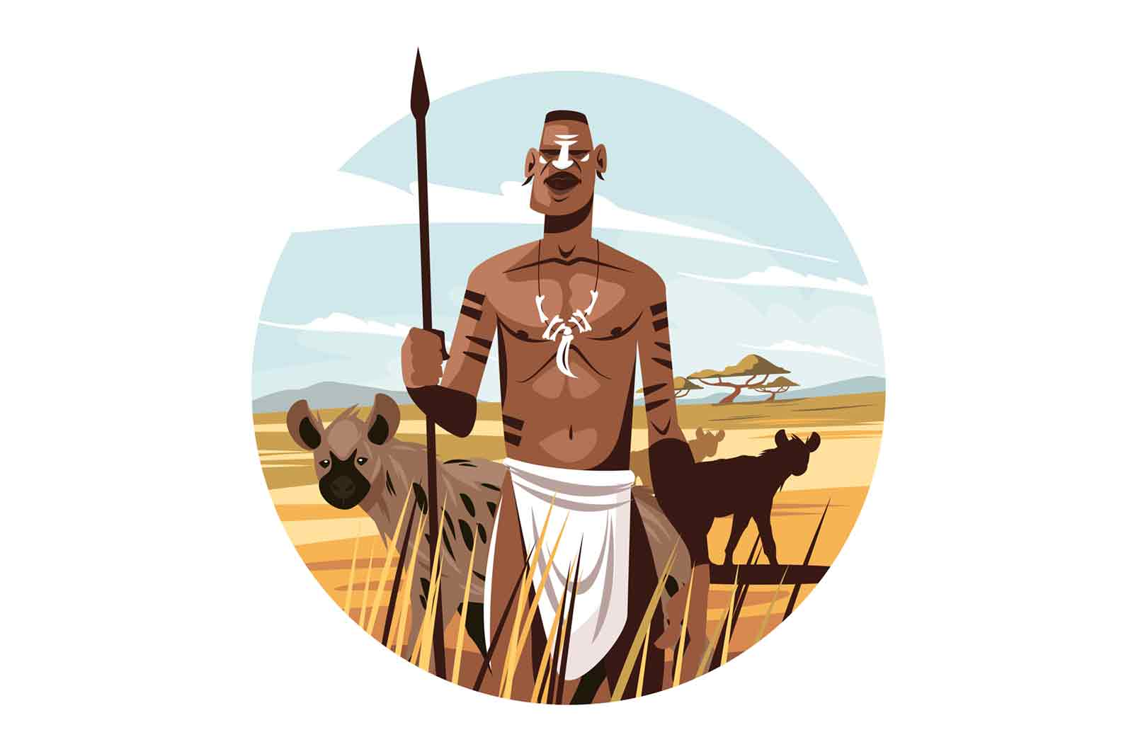Native citizen in wild nature vector illustration. Man with sharp spear with wild animals on background flat style. Wildlife, freedom and masai warrior concept. Isolated on white