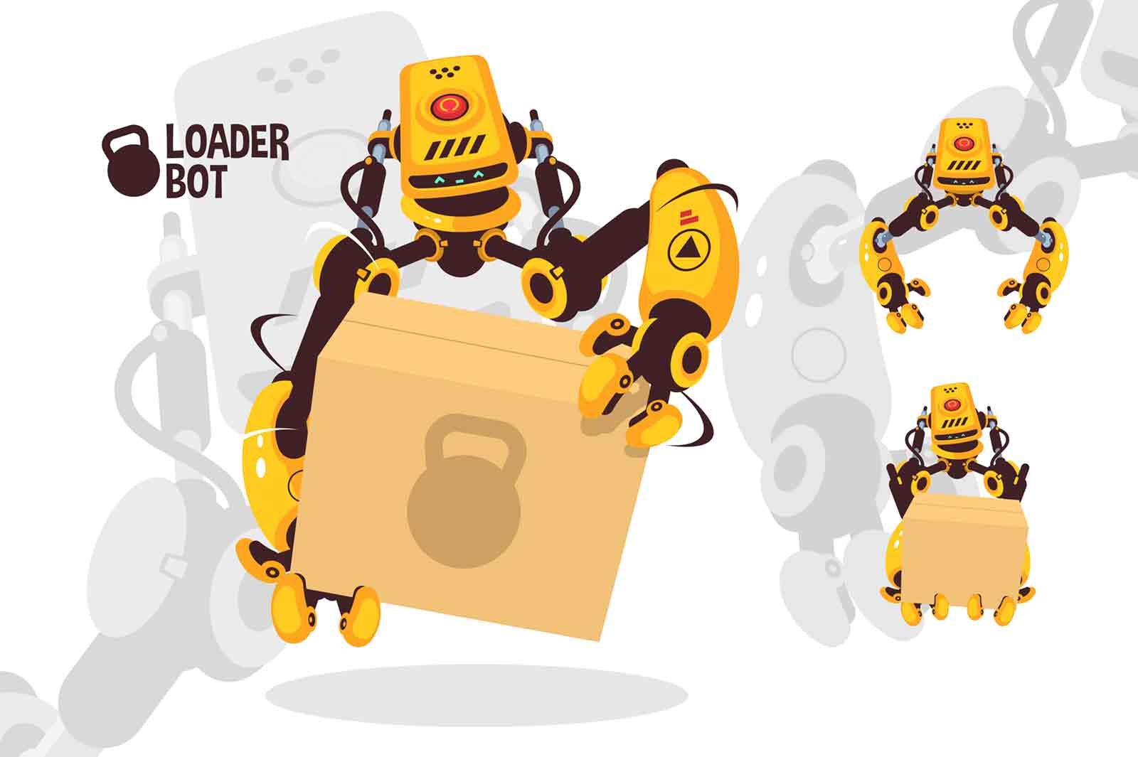 Modern robot loader helper illustration