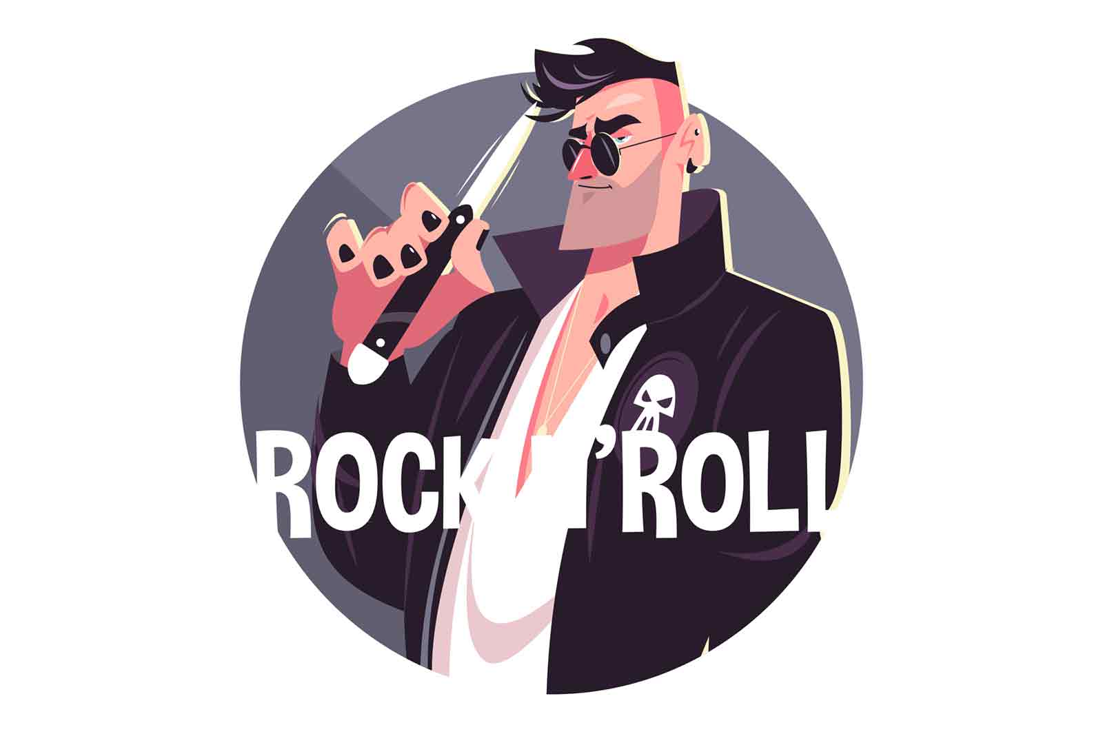 Man and rock and roll vector illustration. Cool person in stylish costume in glasses with knife flat style. Fashion and rock and roll concept. Isolated on white background