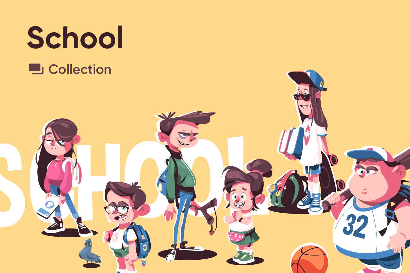 Character vector illustrations of kids from nearest school. Exclusively on kit8.net