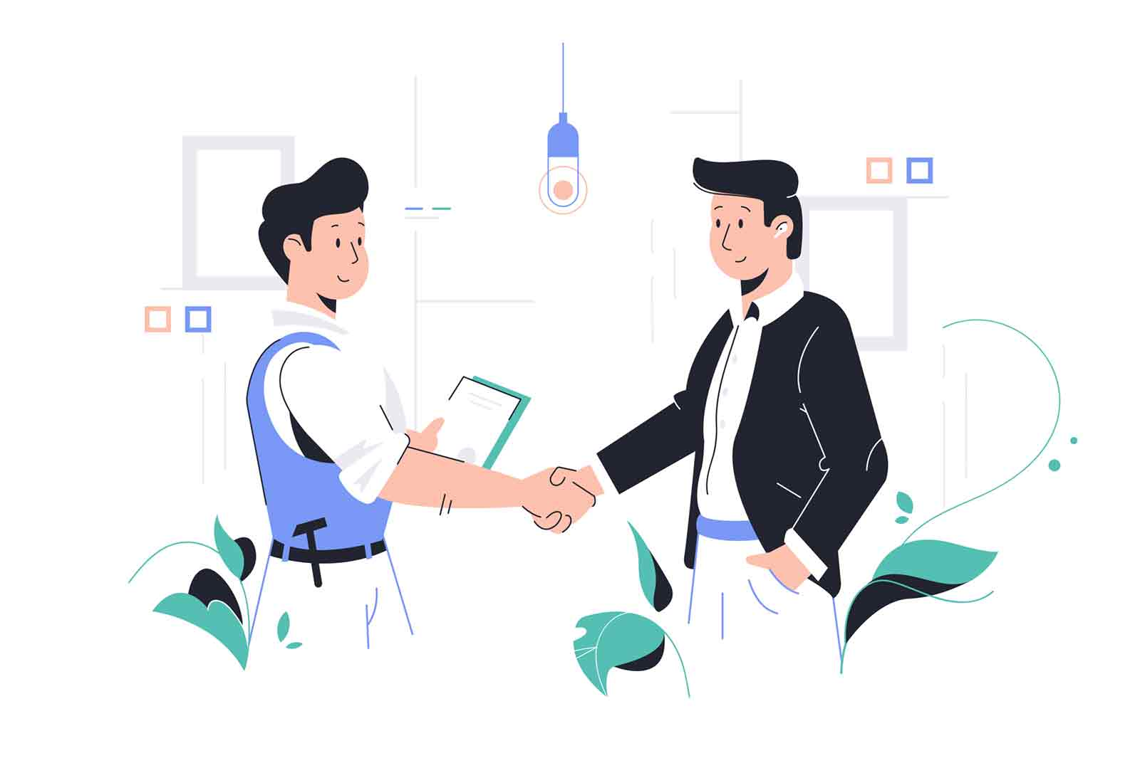 Men shaking hands vector illustration. Client and repairman handshaking. Male persons discussing order details and making deal flat style design. Isolated on white