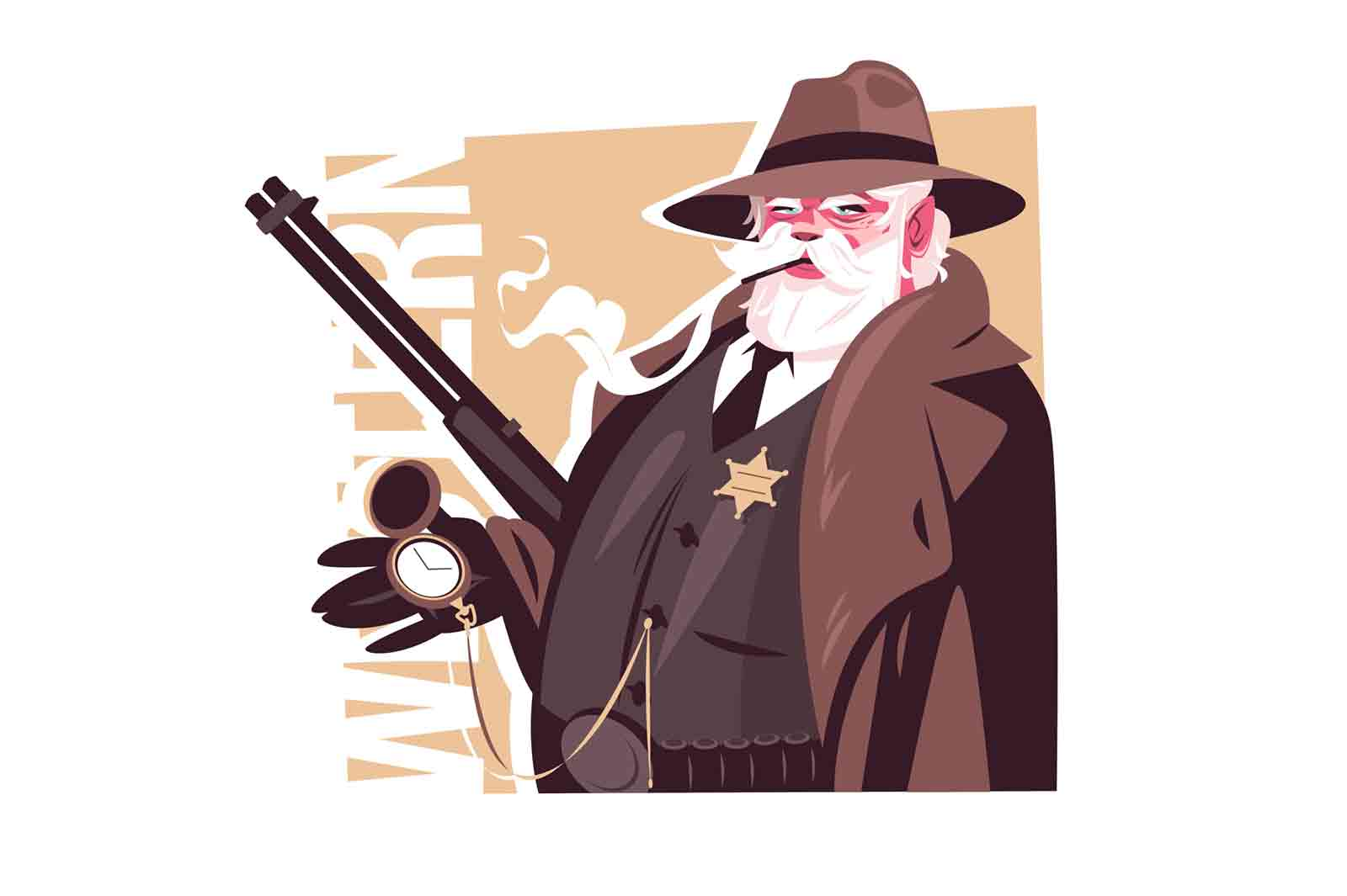 Old man sheriff character vector illustration. Male with cigarette, watch and gun flat style. Cowboy man with star on chest. Wild west and western culture concept. Isolated on white background