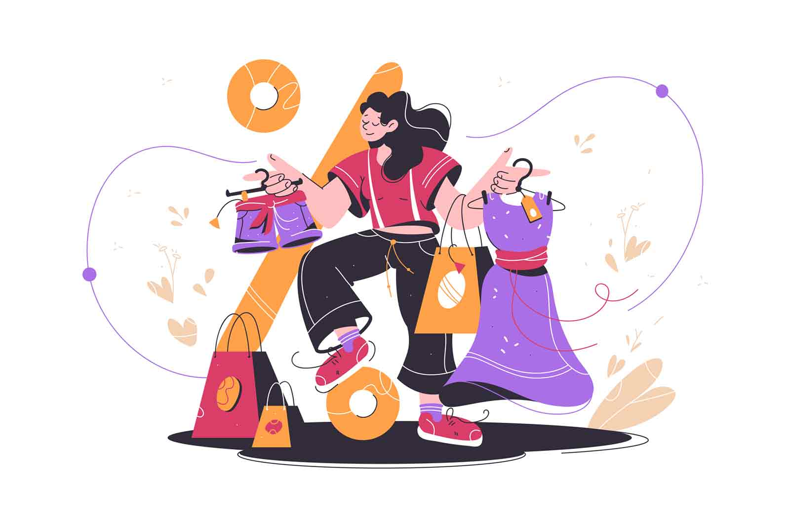 Happy shopping woman buying buying clothes at market. Isolated concept smiling female character after shopping holds packages with stuff and relaxing at shop. Vector illustration.