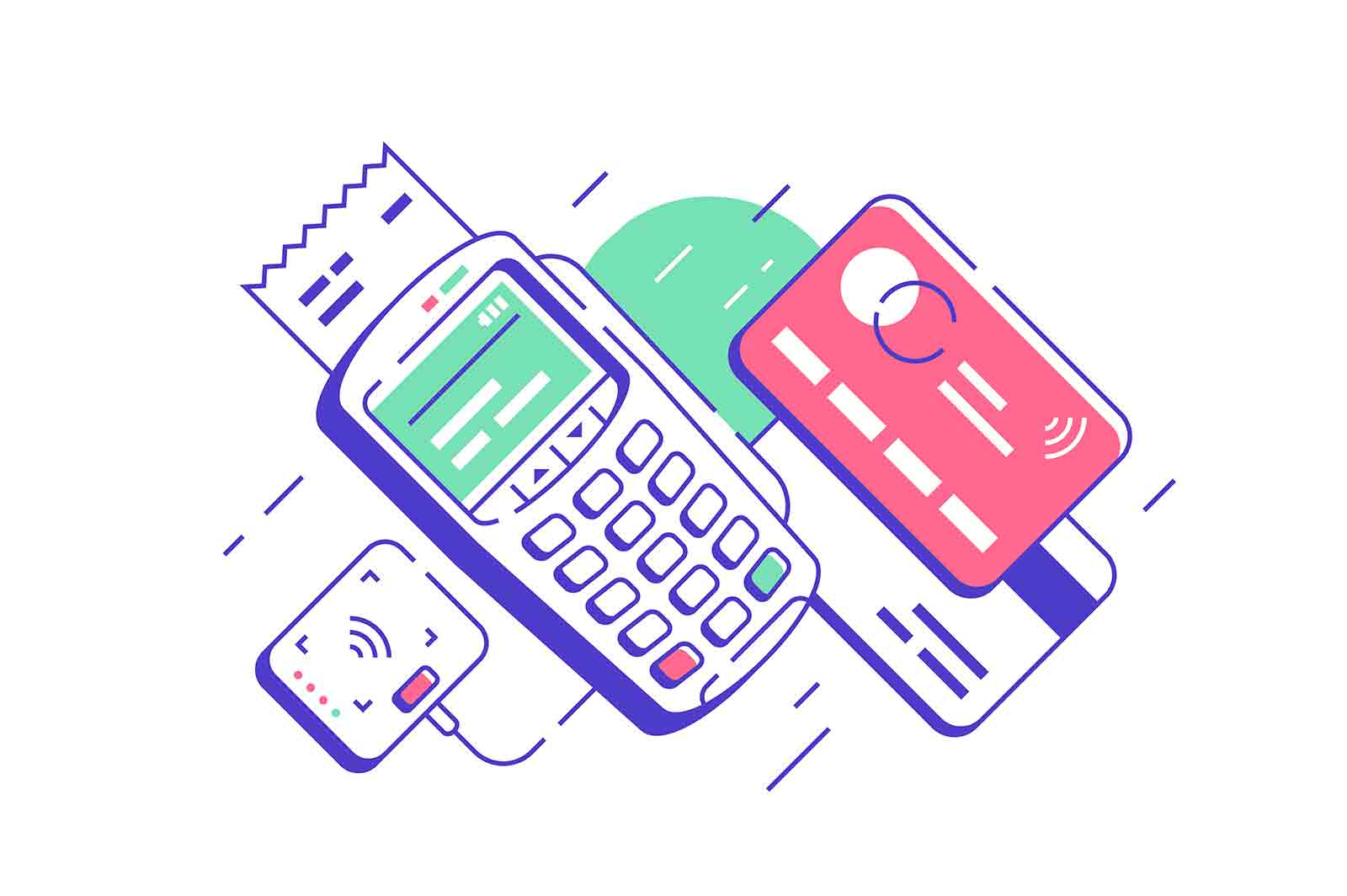 Modern urban terminal for contactless and wireless goods payment. Isolated concept of device for card pay service and bank payment in market with buyer check. Vector illustration.