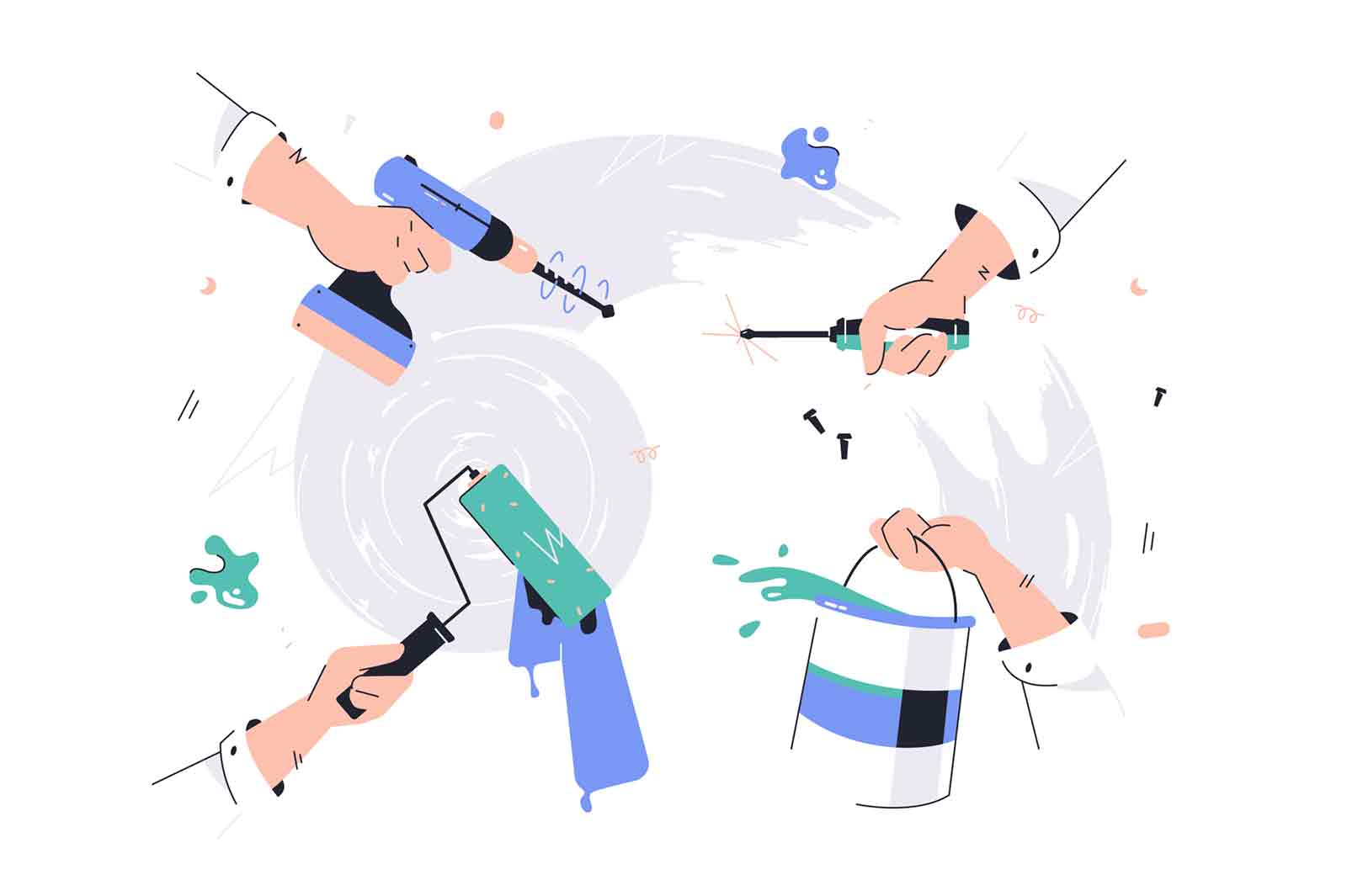Four hands using and holding tools for repairs. Concept employee characters with paint roller and bucket, drill and screwdriver. Vector illustration.