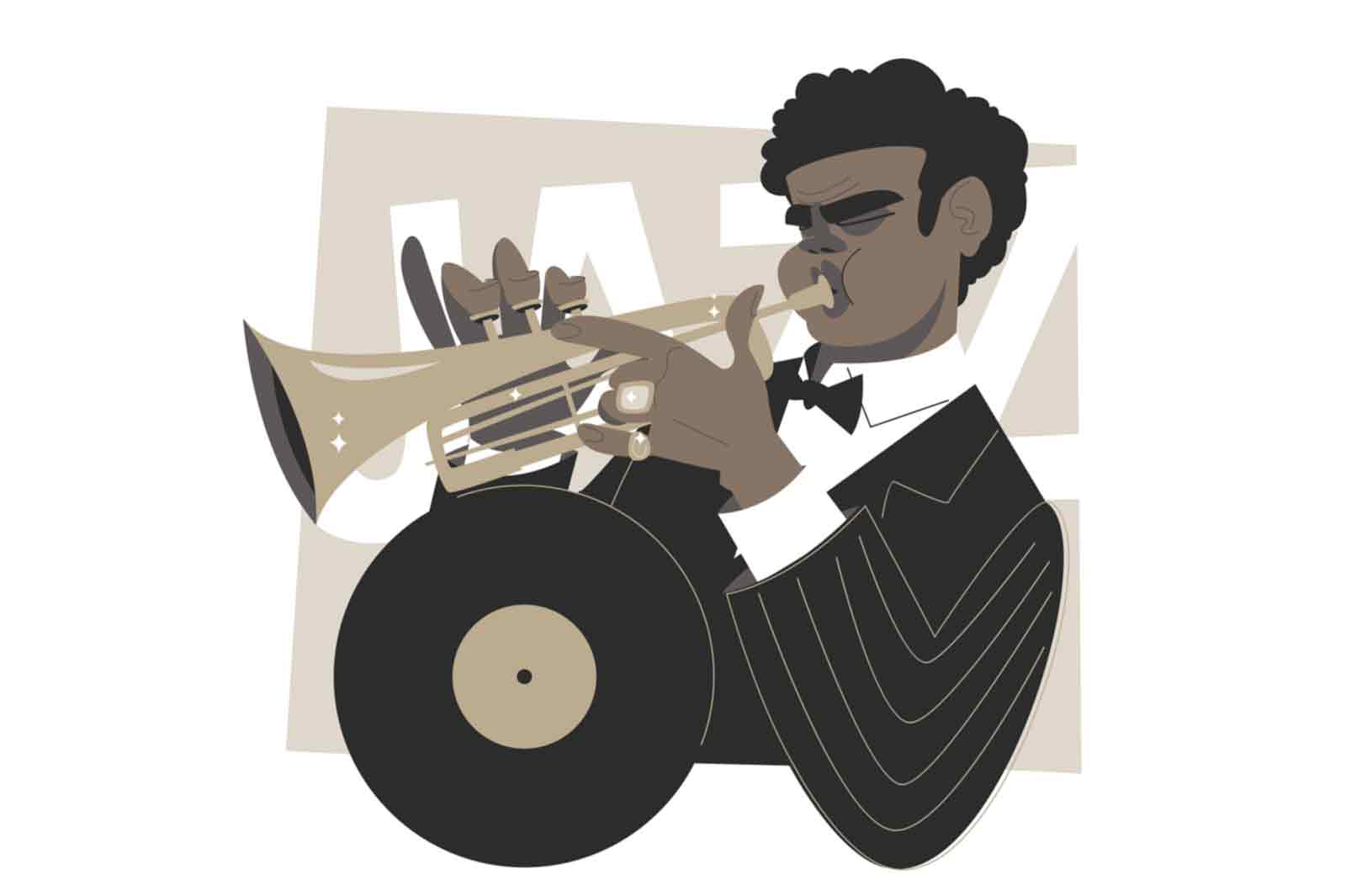 Afro american trumpet player vector illustration. Black man improvises on musical instrument flat style. Jazz and blues music style concept. Isolated on white background