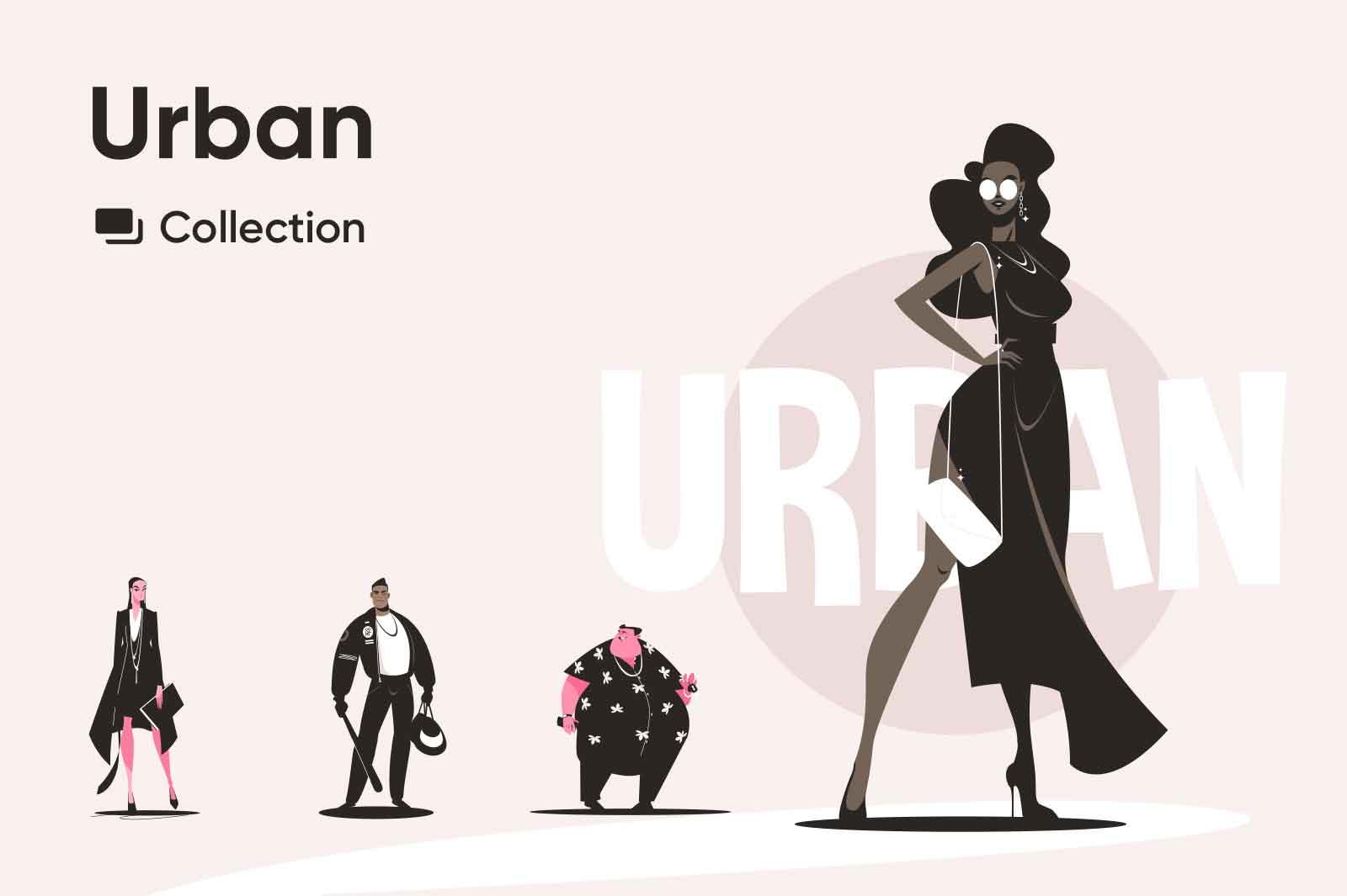 Stylish vector illustrations of city representatives