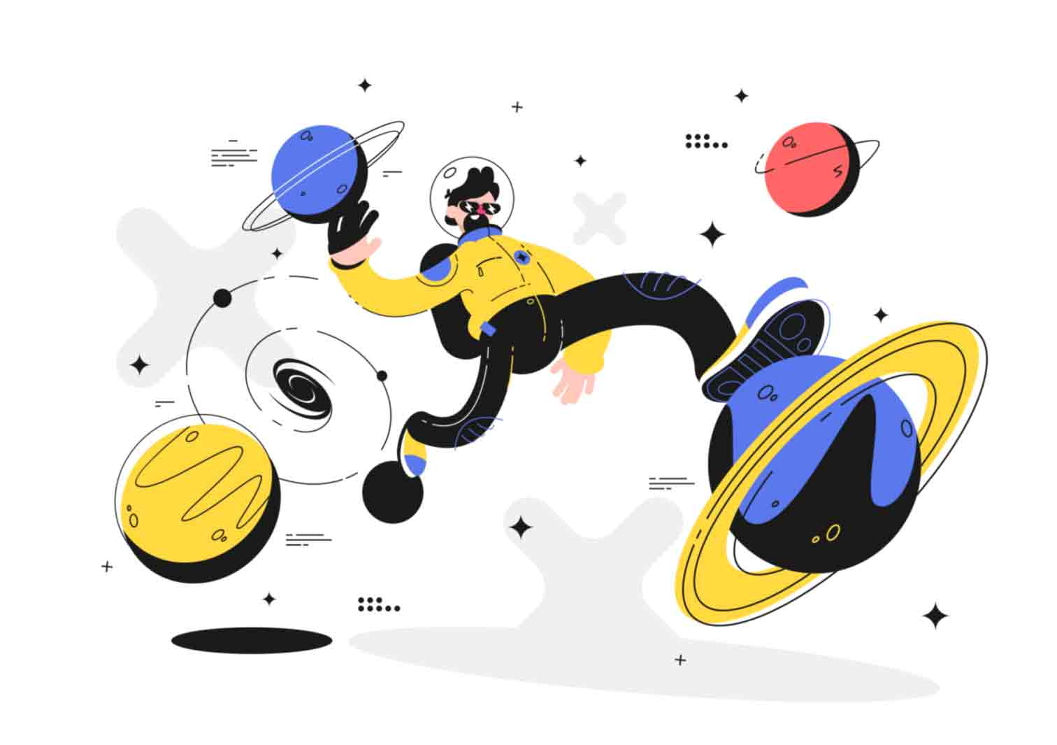 Fun and charismatic vector character illustrations made with blue color domination.