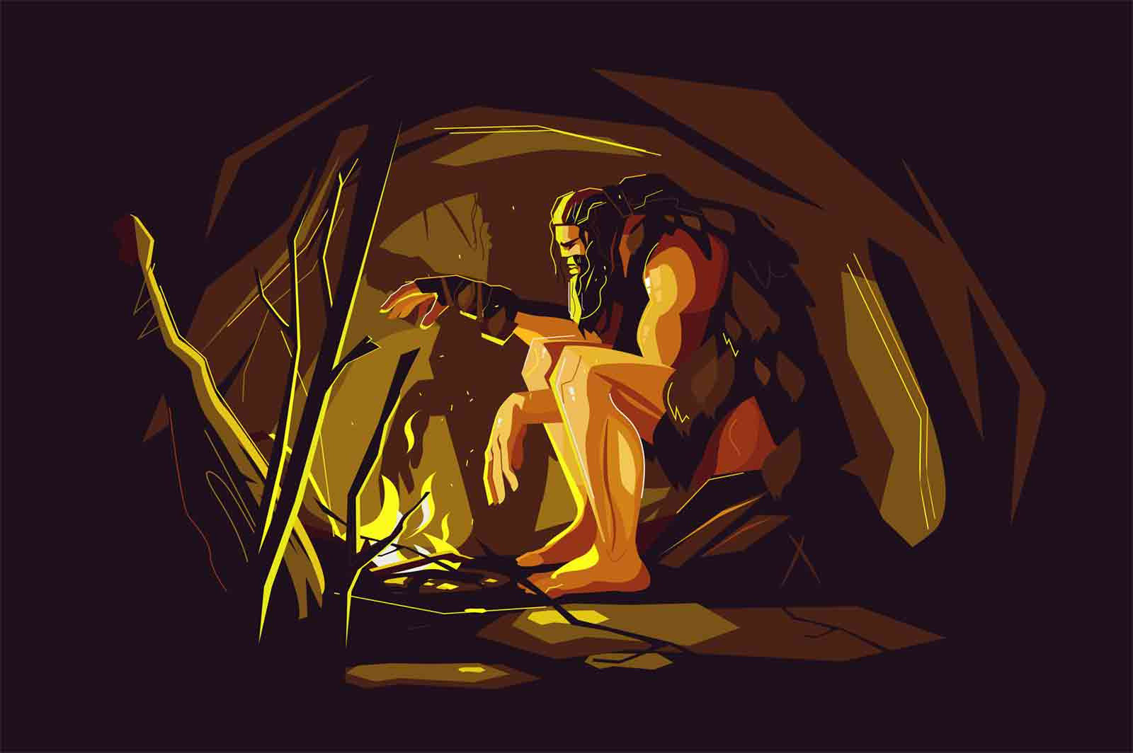 Wild caveman sitting near bonfire vector illustration. Tired and exhausted prehistoric boy relaxing near protective light flat style design. Ancient ages concept