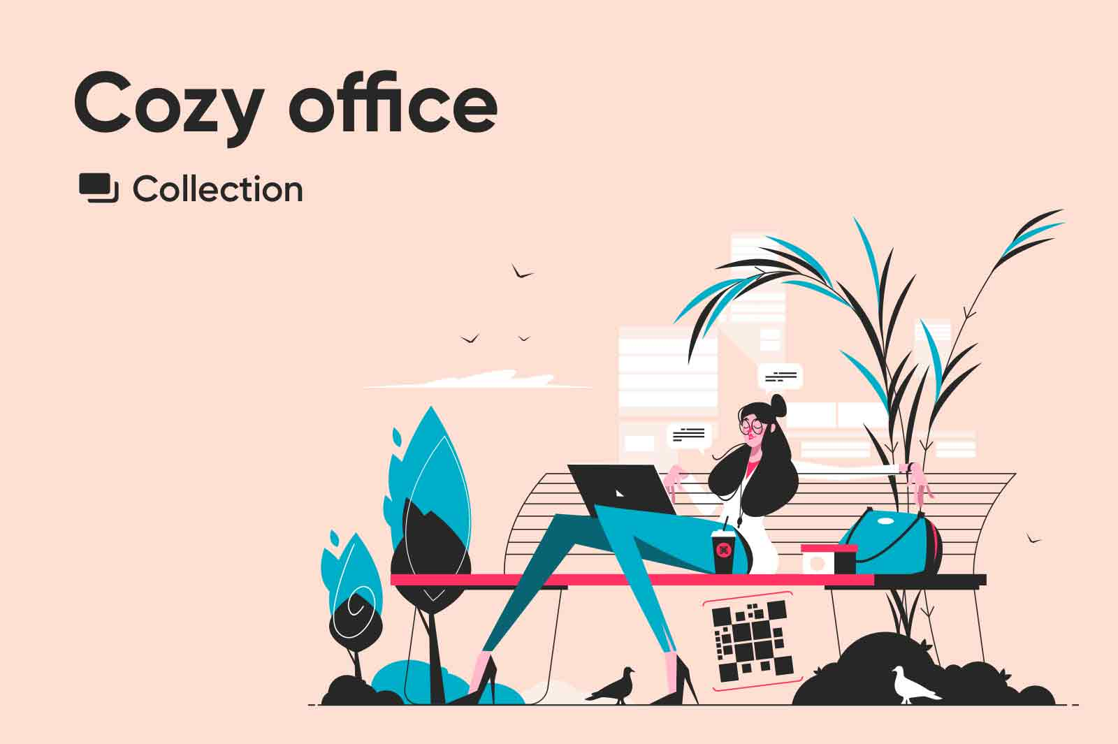 Interesting character illustrations on their workplaces and not only. Workplace, delivery, office, dinner. Vector illustrations.