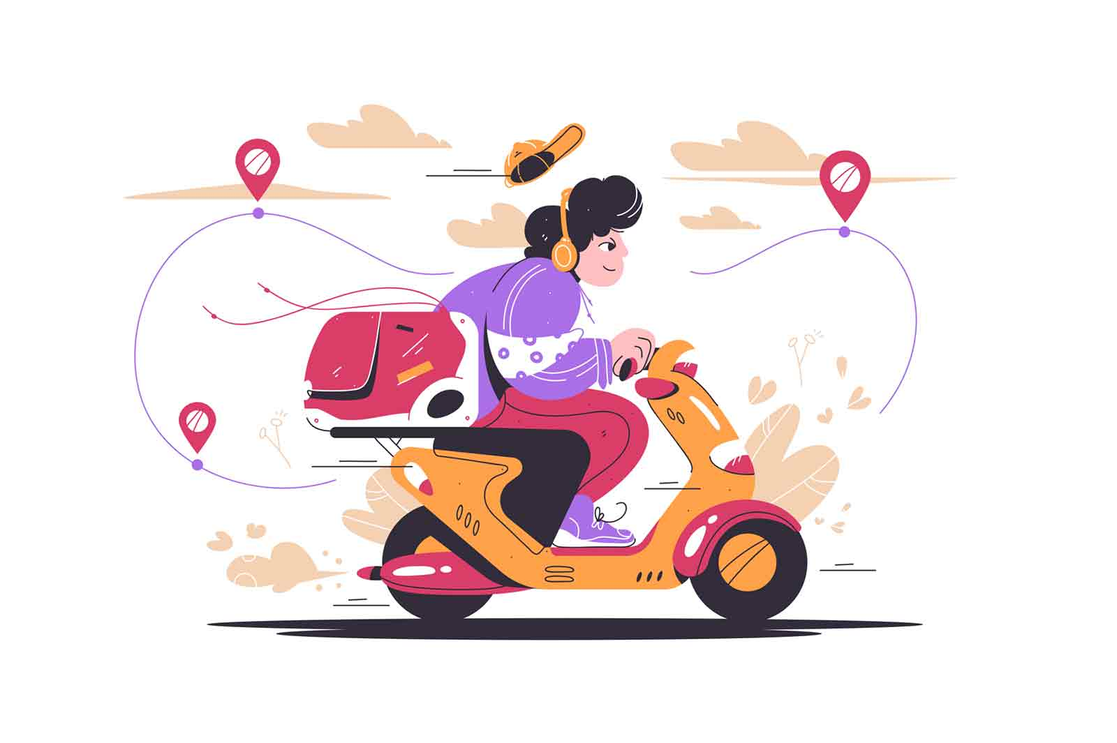 Delivery man riding motorcycle vehicle vector illustration. Online order tracking flat style. Online service with delivery, safety during covid19 epidemic concept. Isolated on white background