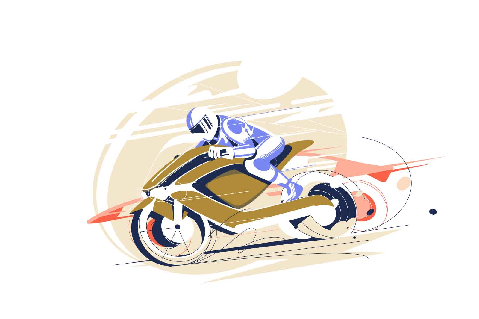 Guy riding cool racing motorcycle vector illustration. Biker man in suit and helmet riding yellow bike flat style. Extreme activity, speed race hobby concept. Isolated on white background
