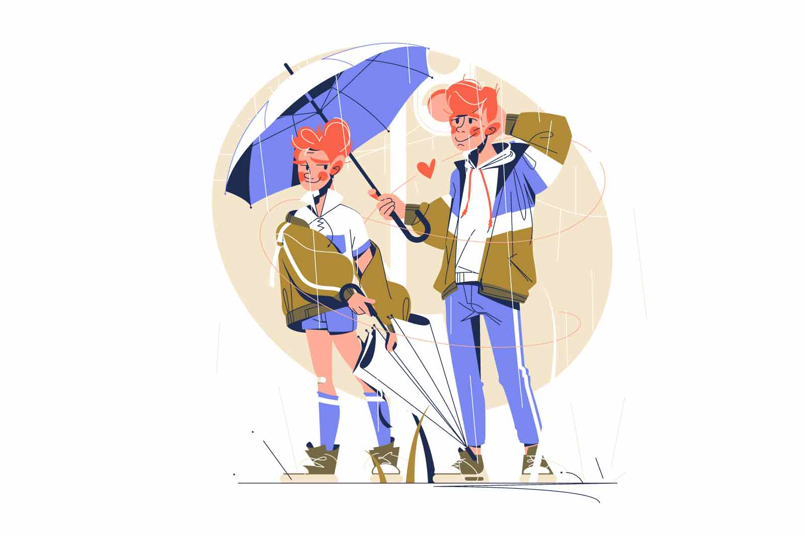Guy and girl walking under rain vector illustration. Boyfriend holding umbrella on girlfriend flat style. Relationship goal, love, romance, happiness and leisure concept. Isolated on white background