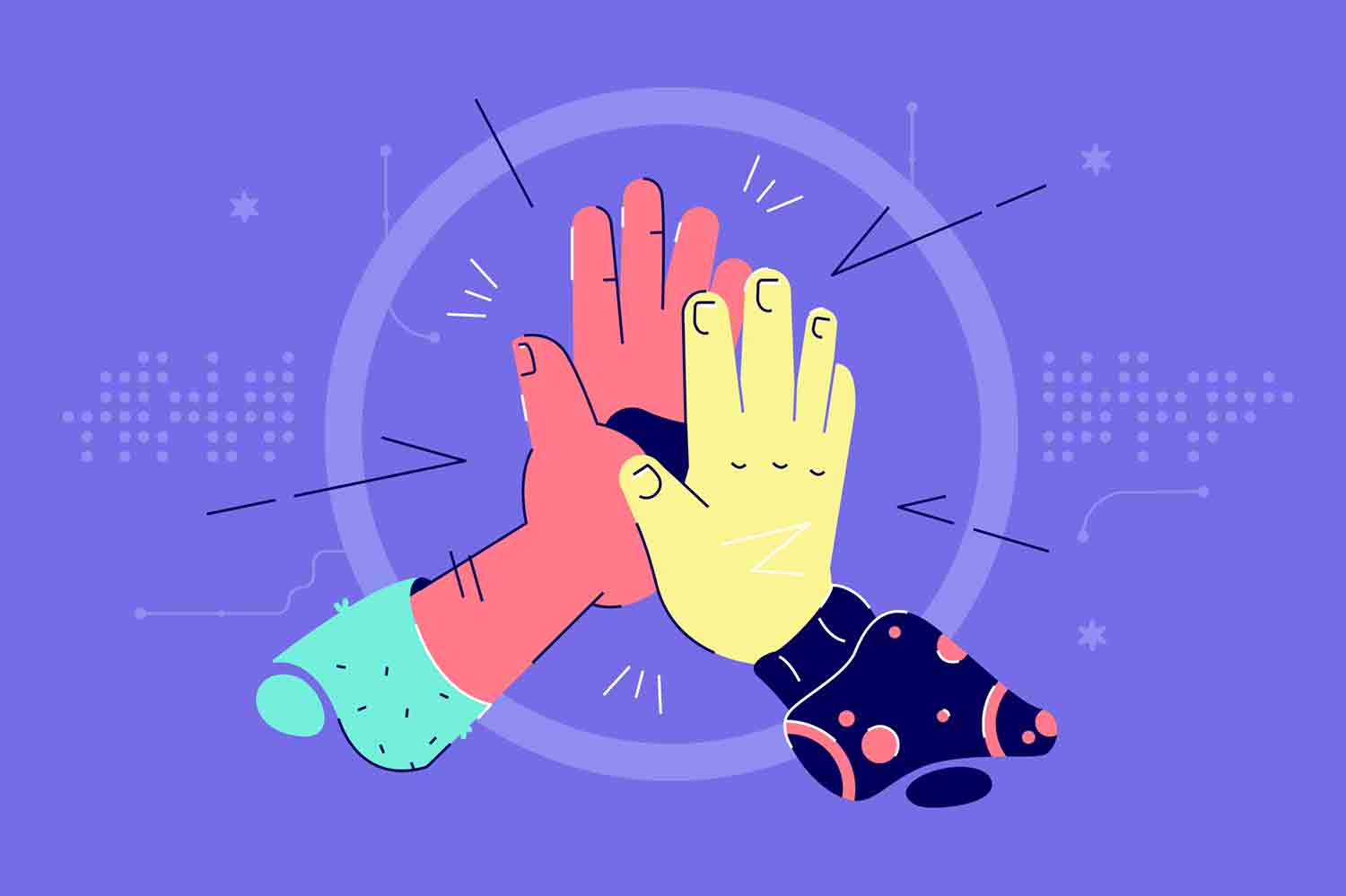African american and asian hands give high five together. Abstract concept of diverse nationality collaborate for successful. Vector illustration.