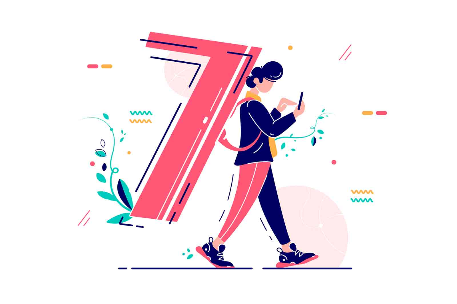 Man carrying number seven as backpack. Man going, typing on a smartphone and caring the number 7 flat vector illustration.