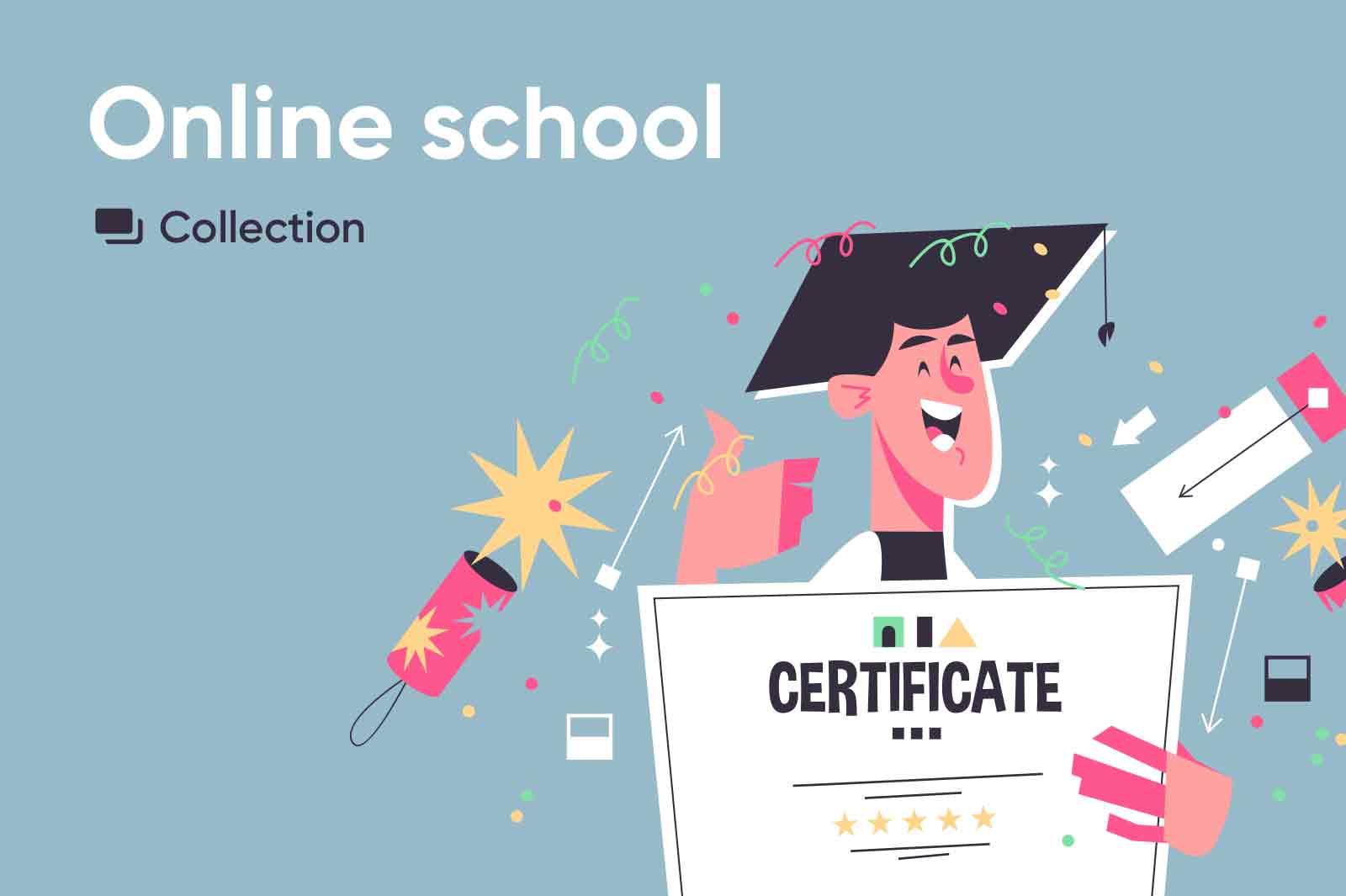 Vector character illustrations related to online education. Exclusively on kit8.net
