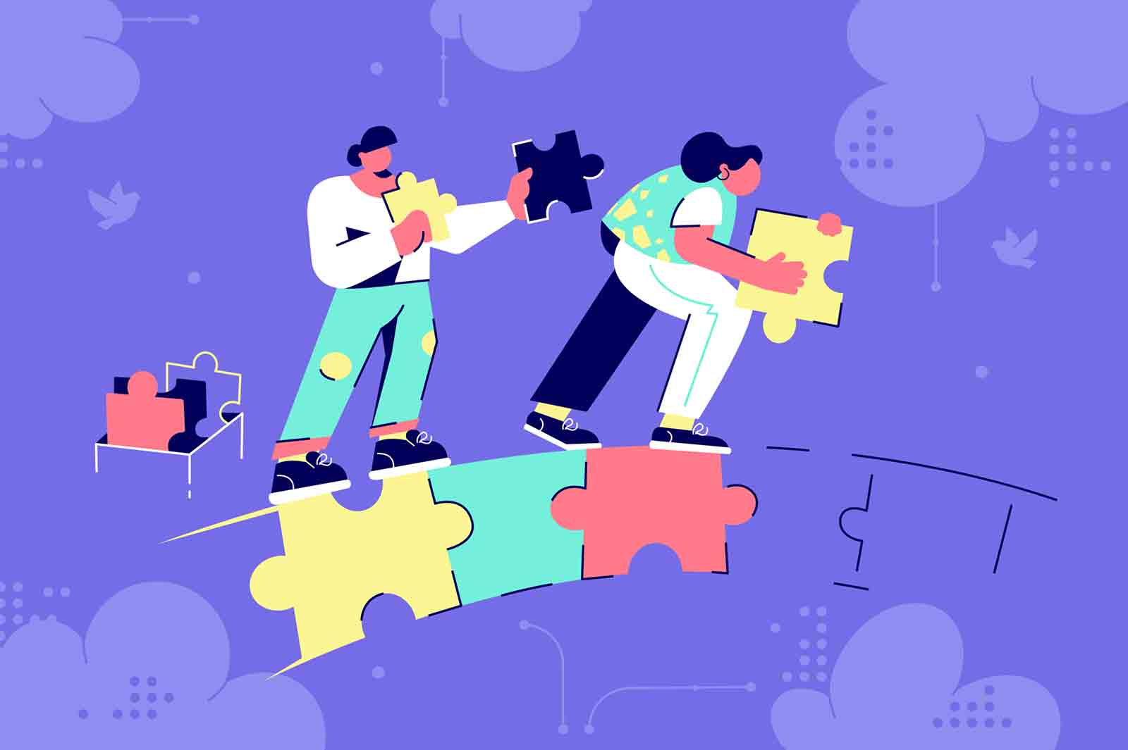 Man and woman couple silhouette building puzzle bridge in business future. Abstract concept businessman and businesswoman characters creating relationship at purple background. Vector illustration.