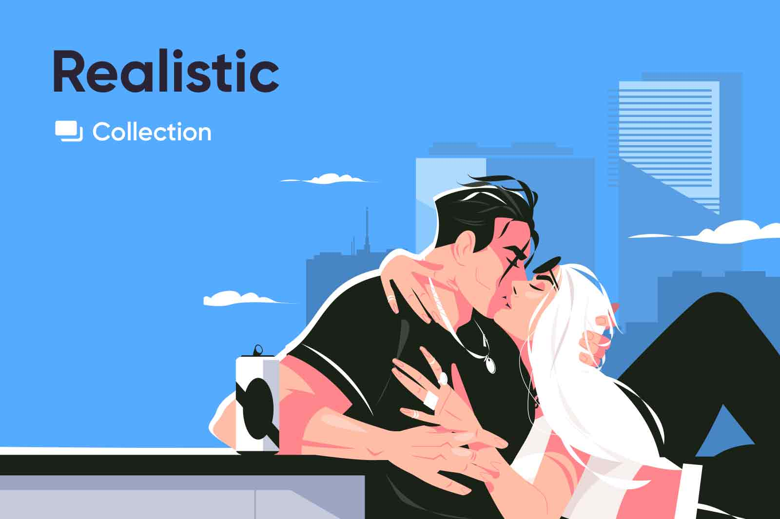Detailed vector illustrations more or less looking like real people and objects. Character illustrations.