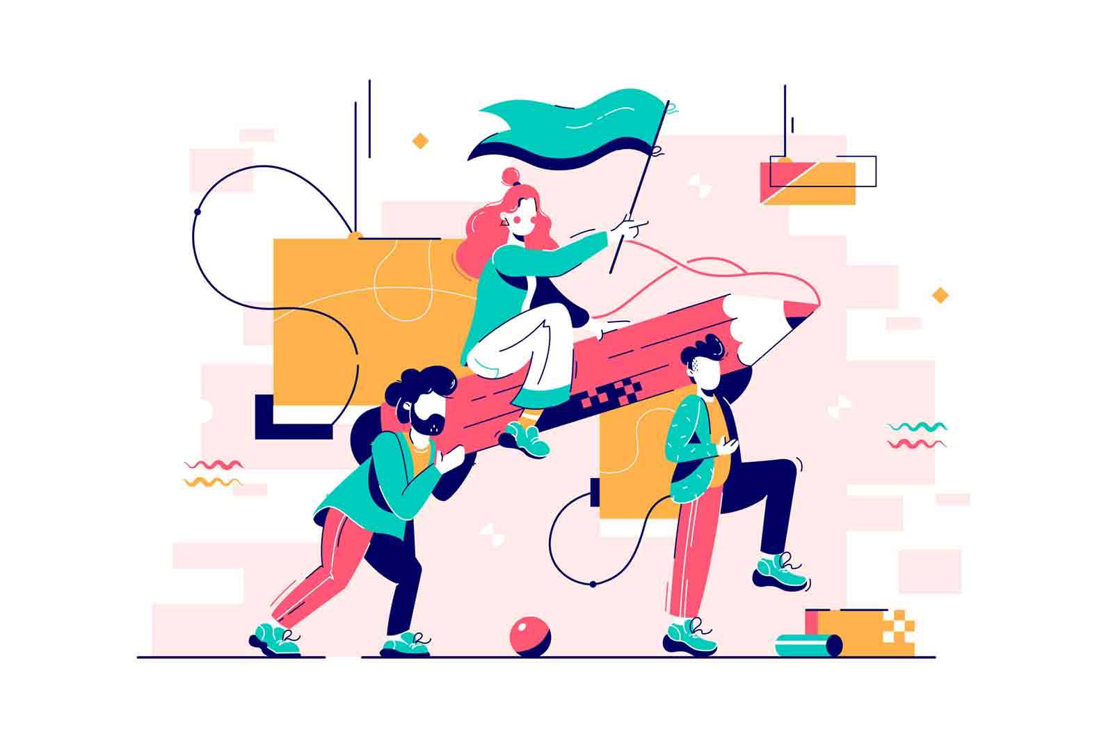 Men carry woman on big pencil, teamwork concept. Flat vector illustration.