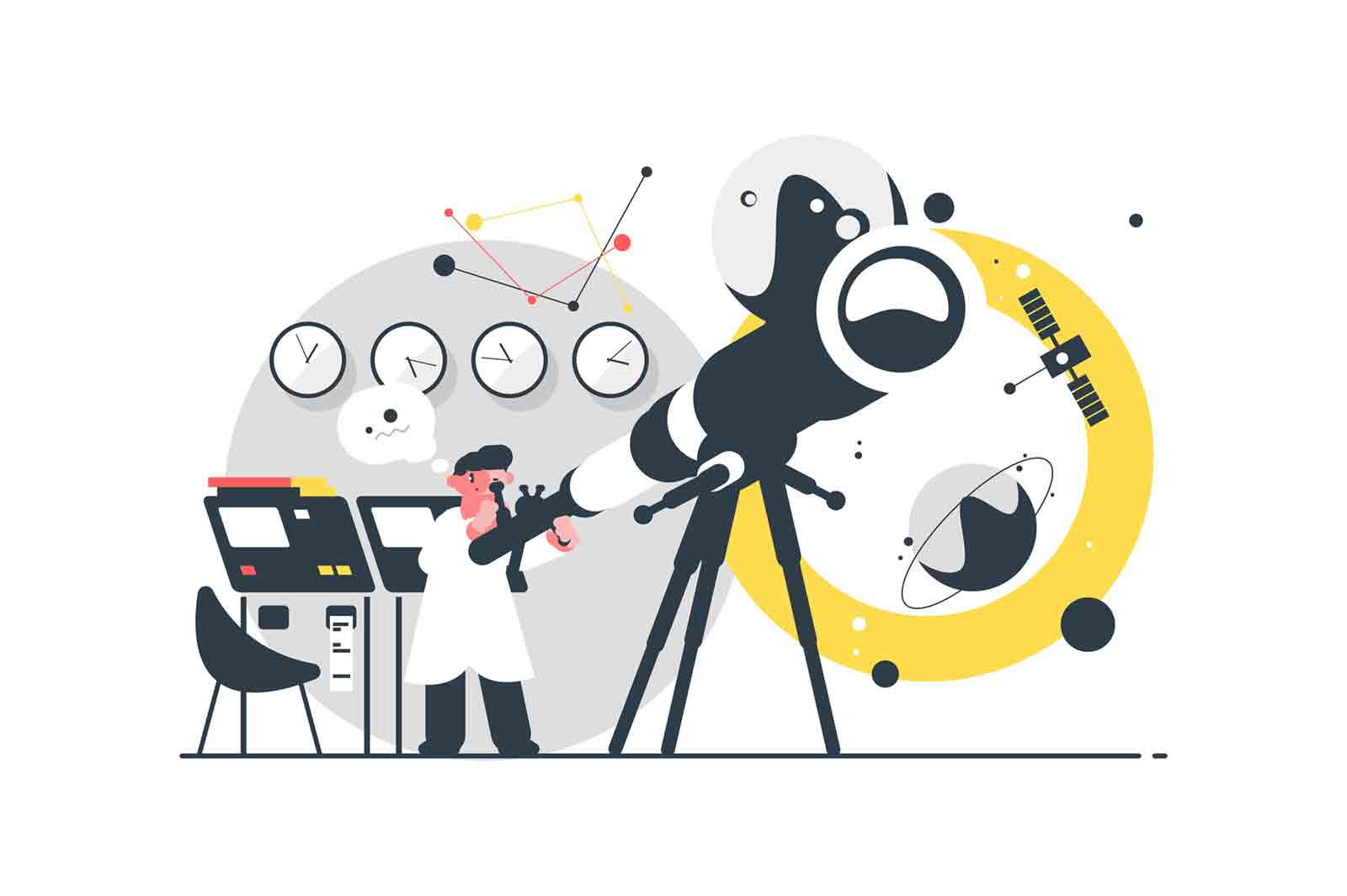 Astronomer watching stars vector illustration. Specialist searching constellations via telescope in modern observatory flat style design. Study of astronomy concept