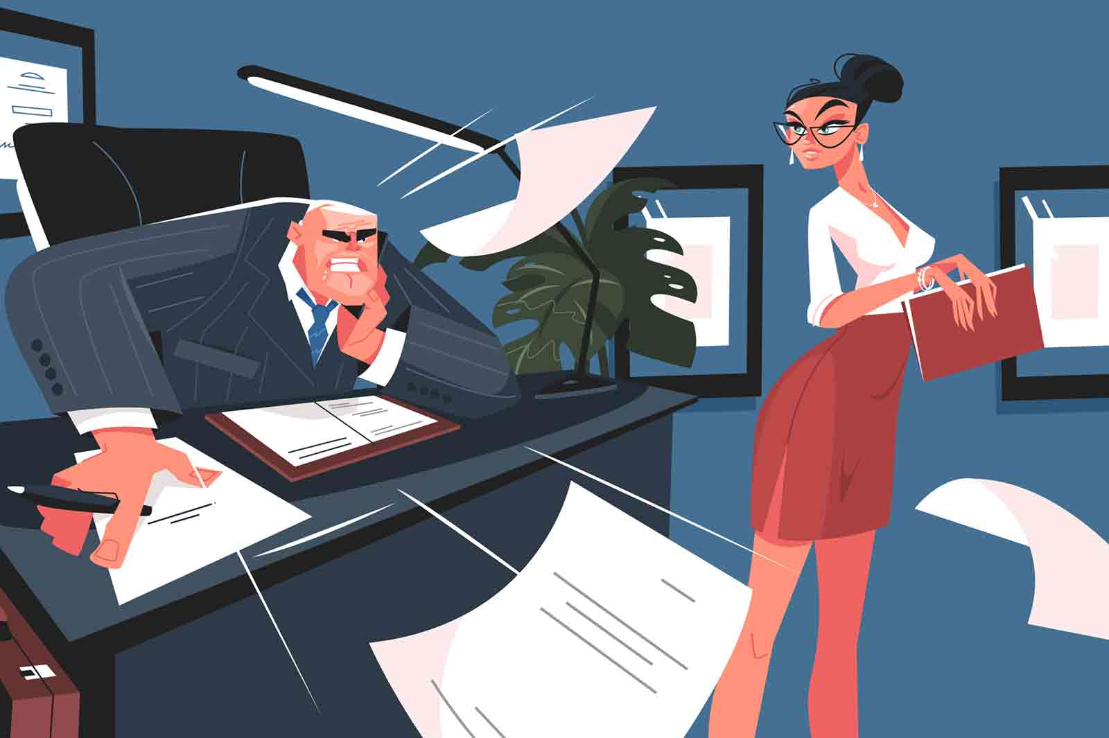 Screaming boss and secretary vector illustration. Angry man reprimands subordinate flat style design. Grumpy chief yelling at woman. Working moments scene
