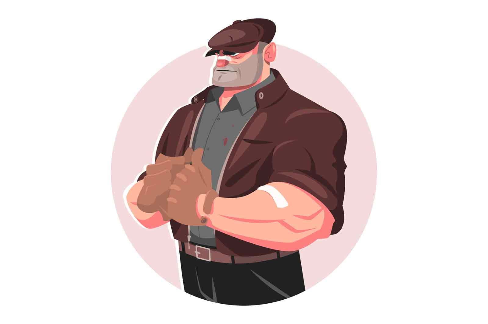 Security guard bouncer man vector illustration. Criminal person with strong huge muscular body flat style. Personal bodyguard and protection concept. Isolated on white background