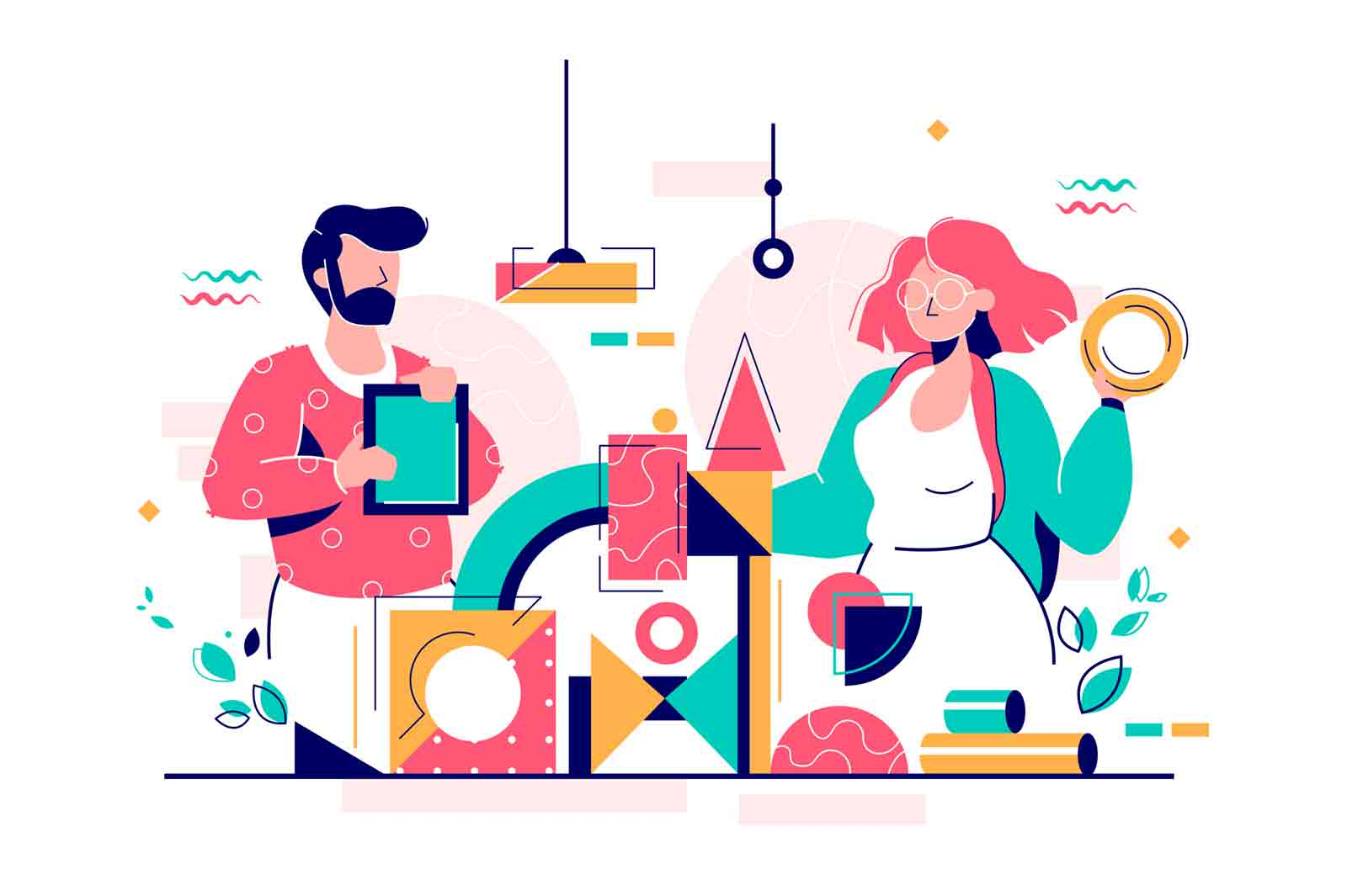 Man and woman building service using modern technology. Concept flat vector illustration, isolated on white background.