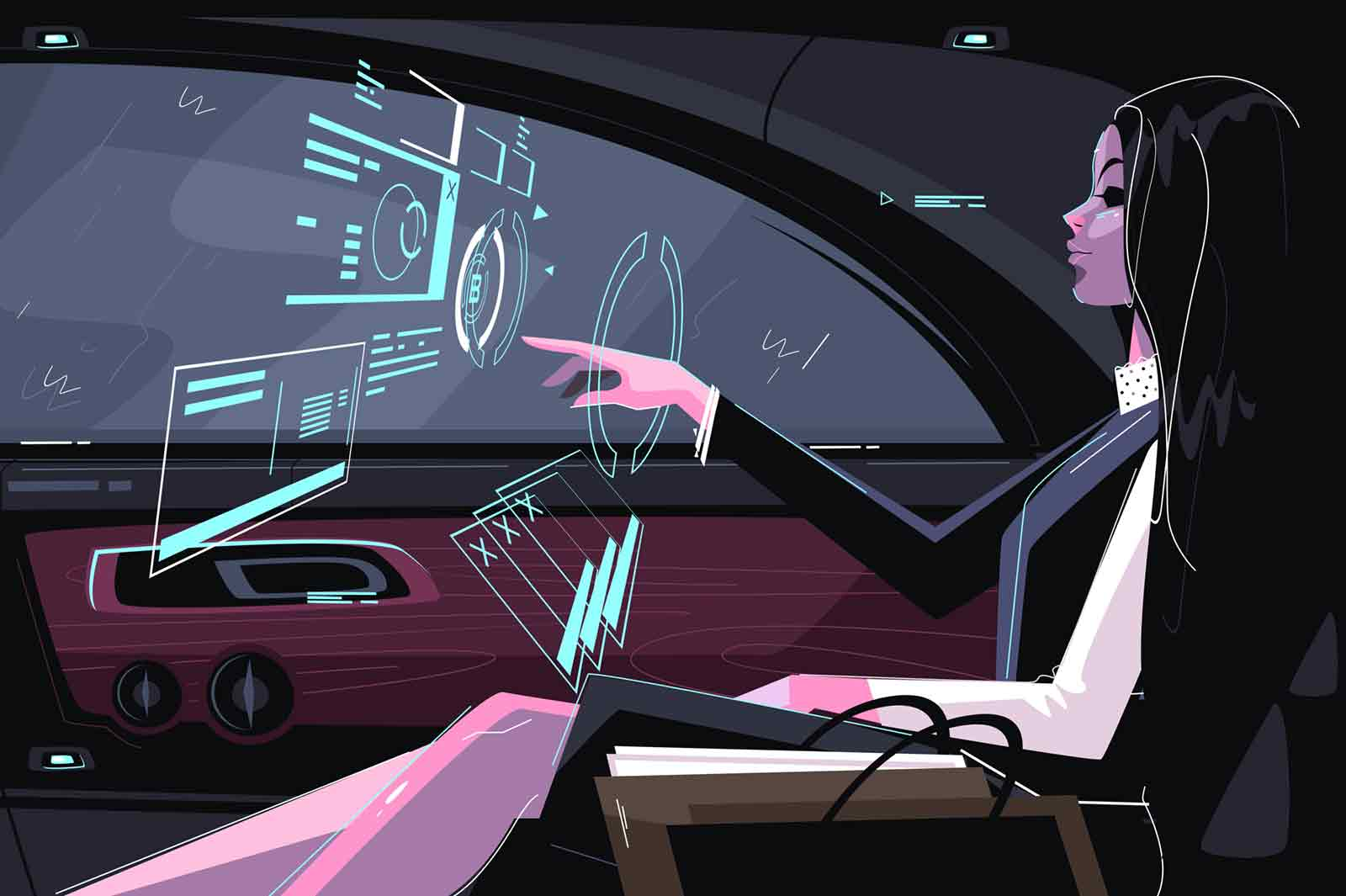Business girl in car vector illustration. Cute businesswoman sitting in vehicle and working with biz hologram flat style design. Futuristic digital technology concept