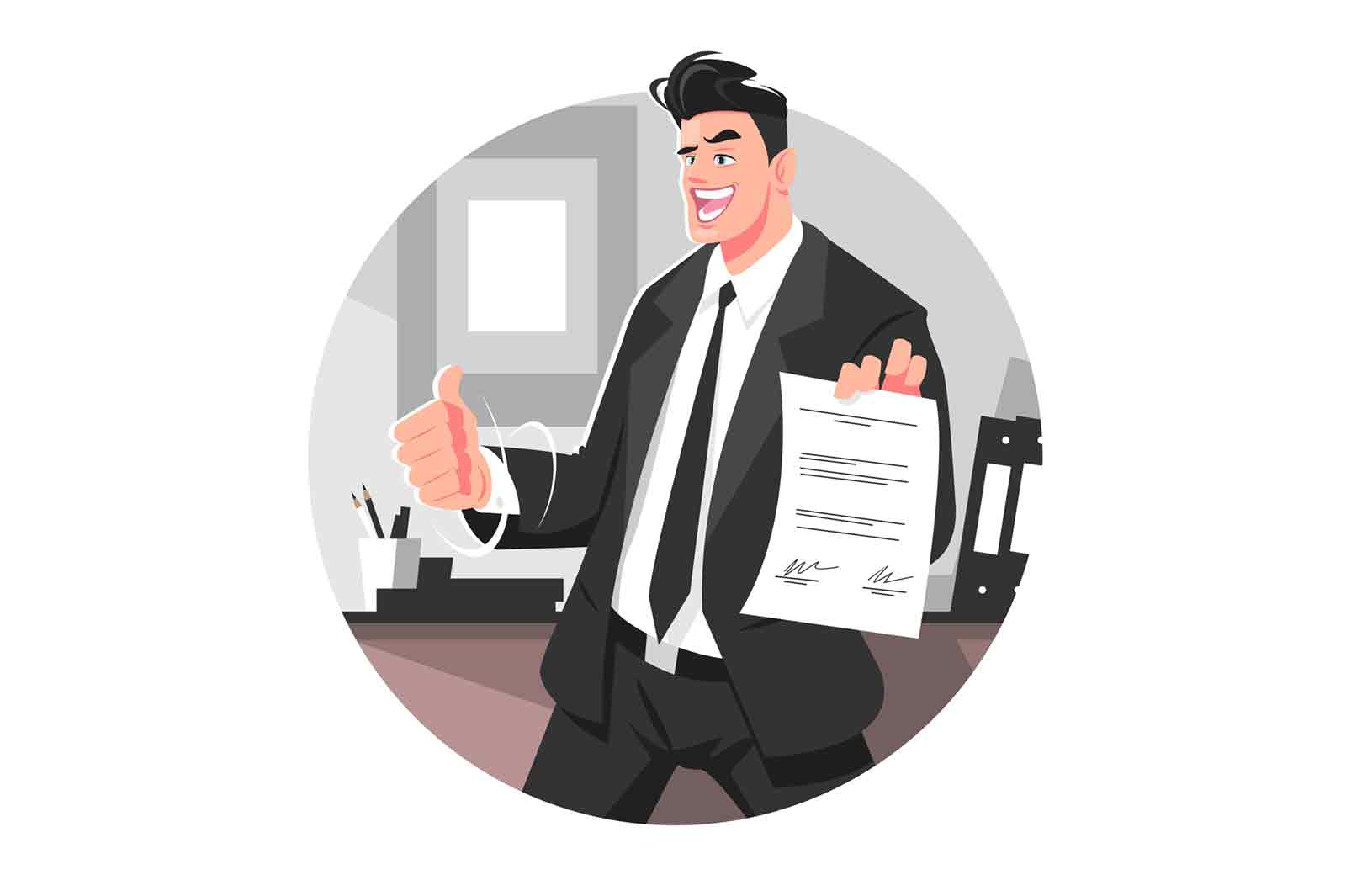 Happy businessman in suit vector illustration. Successful office worker with signed contract paper flat style. Company job and career growth concept. Isolated on white background